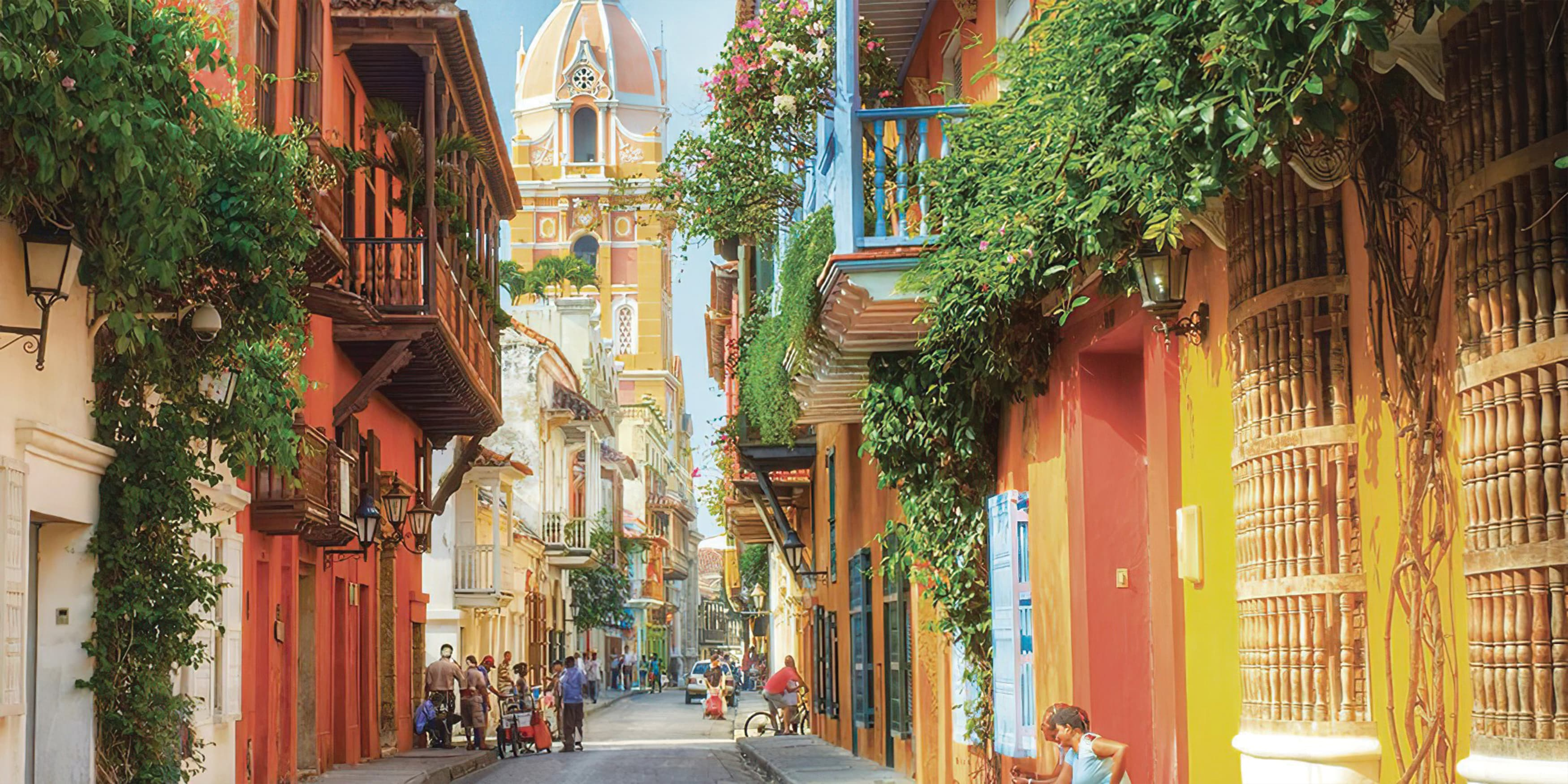 An image of a beautiful streetscape featuring intricately detailed architecture and vivid colors.