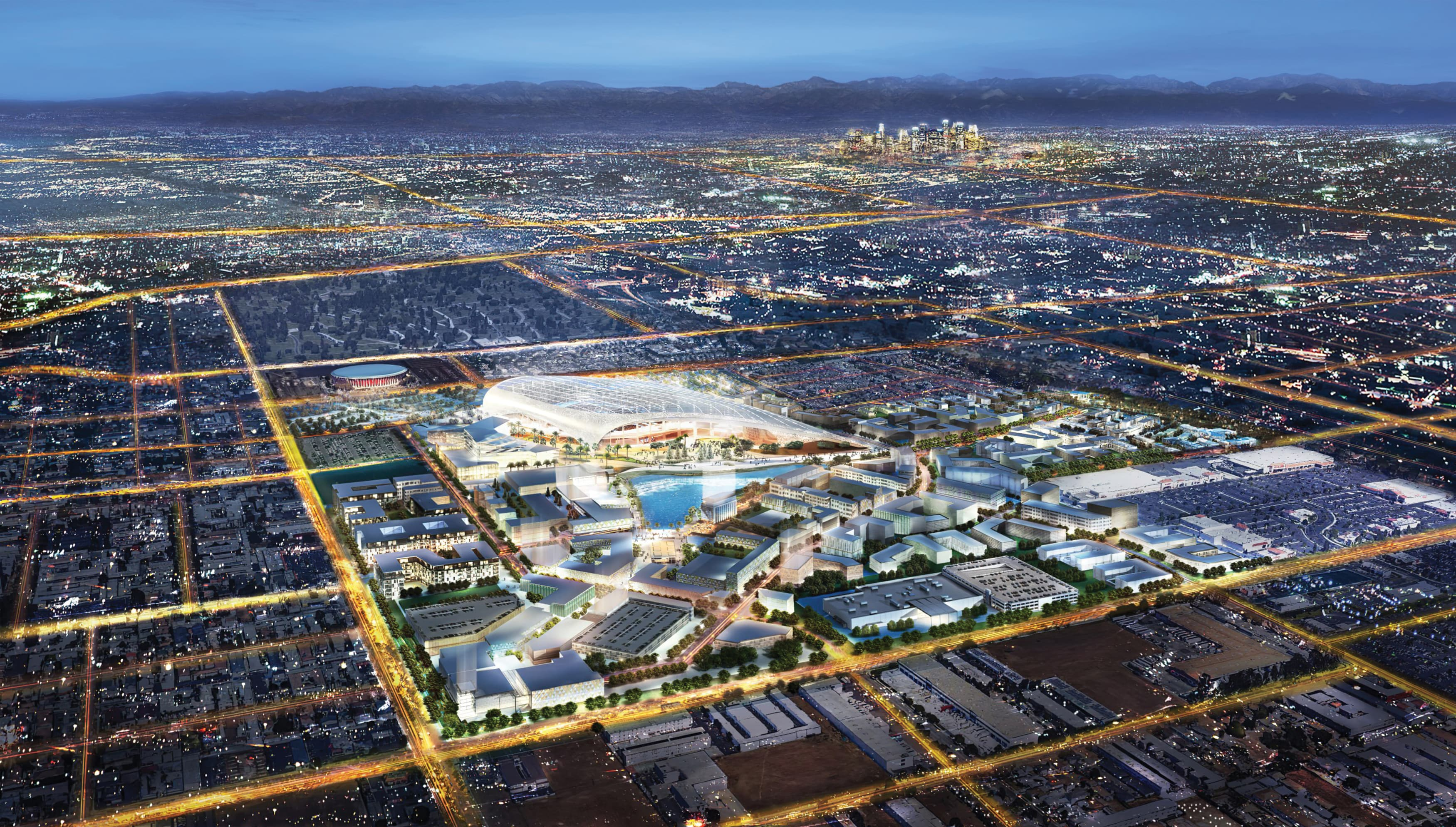 An aerial rendering of the Hollywood Park project, a mixed-use town center anchored by a 70,000 seat stadium.