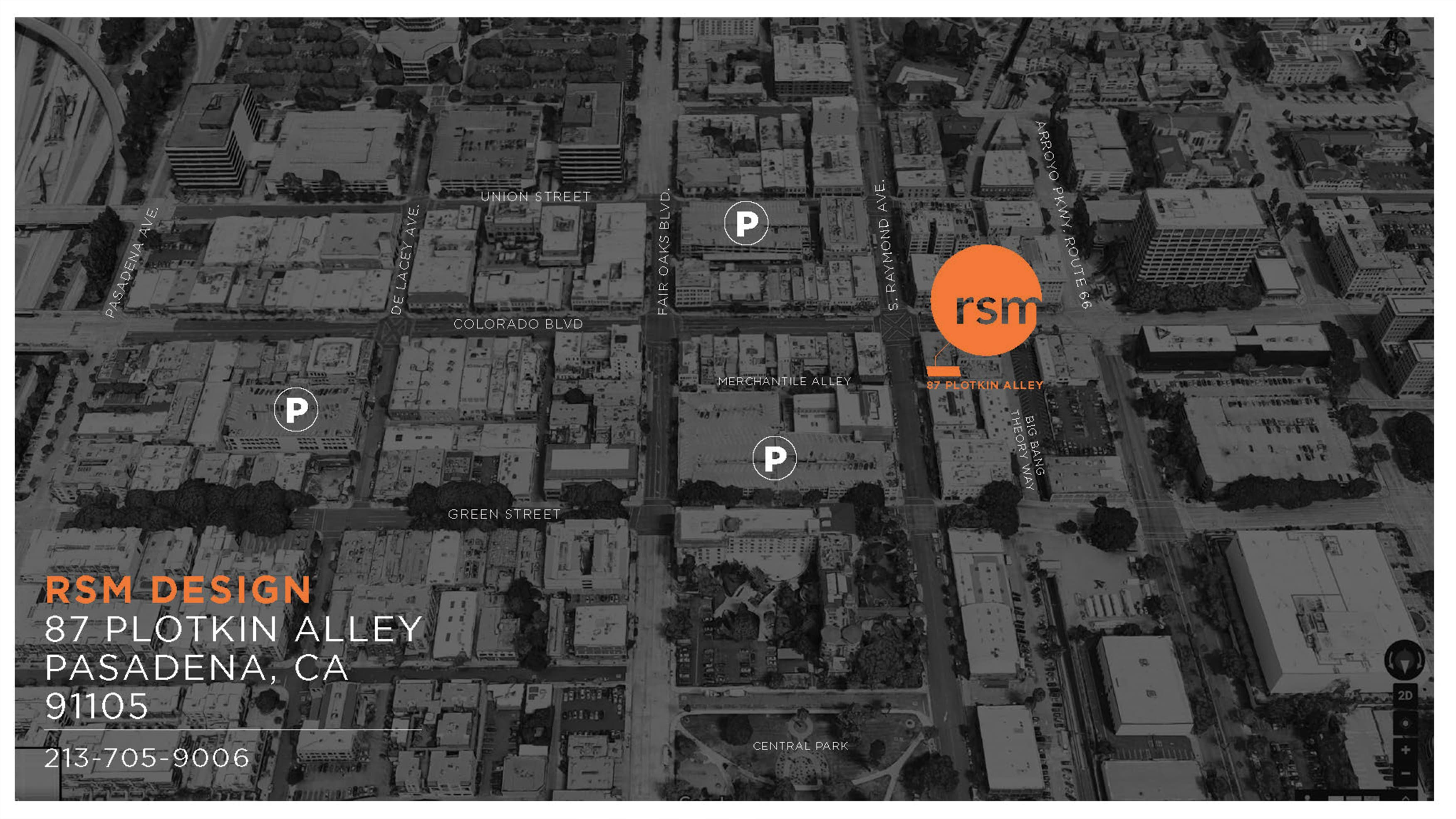 A map showing the location of the new Los Angeles office of RSM Design.