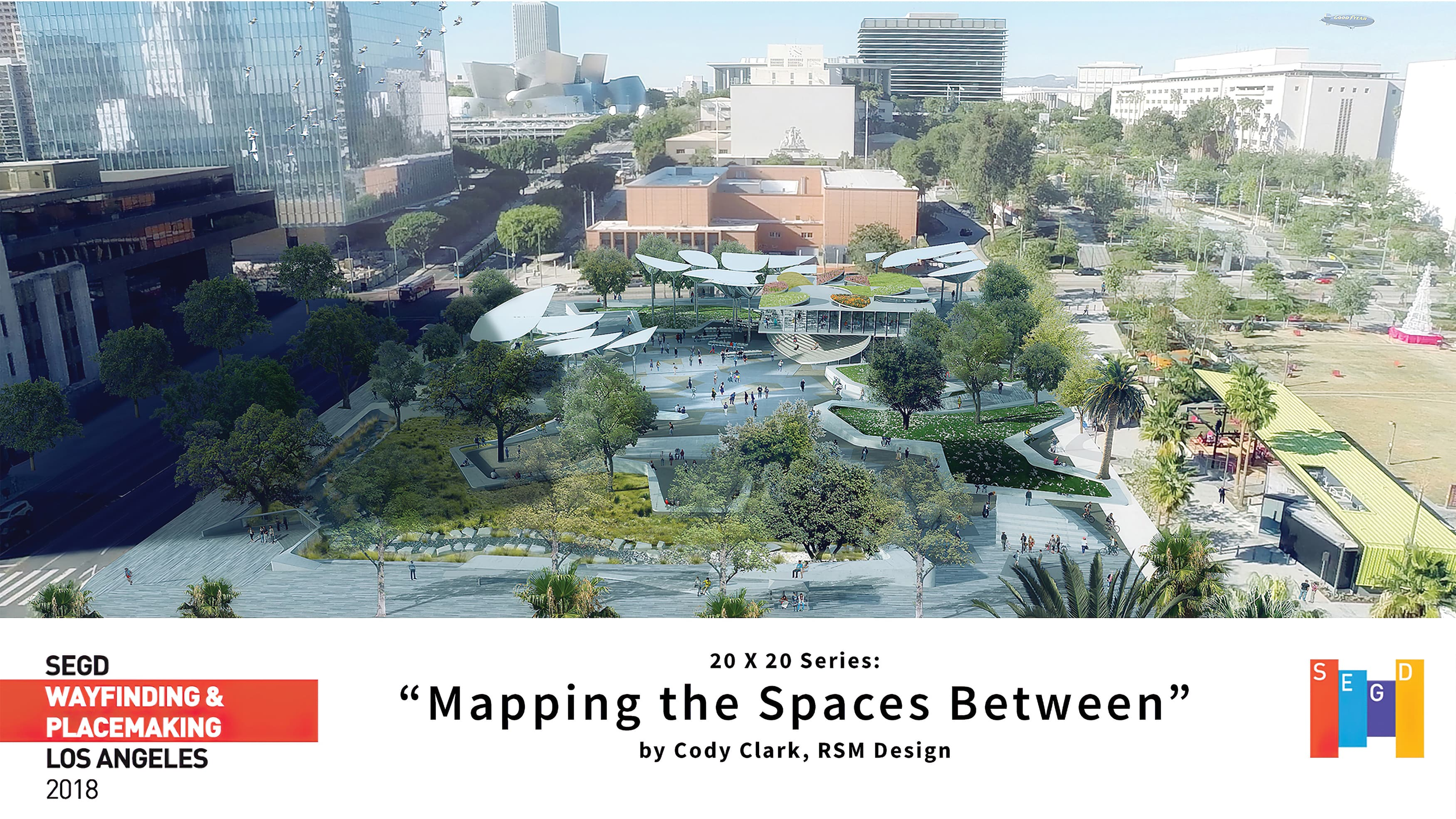 """Aerial render with title block stating """"Mapping the Spaces Between"""""""