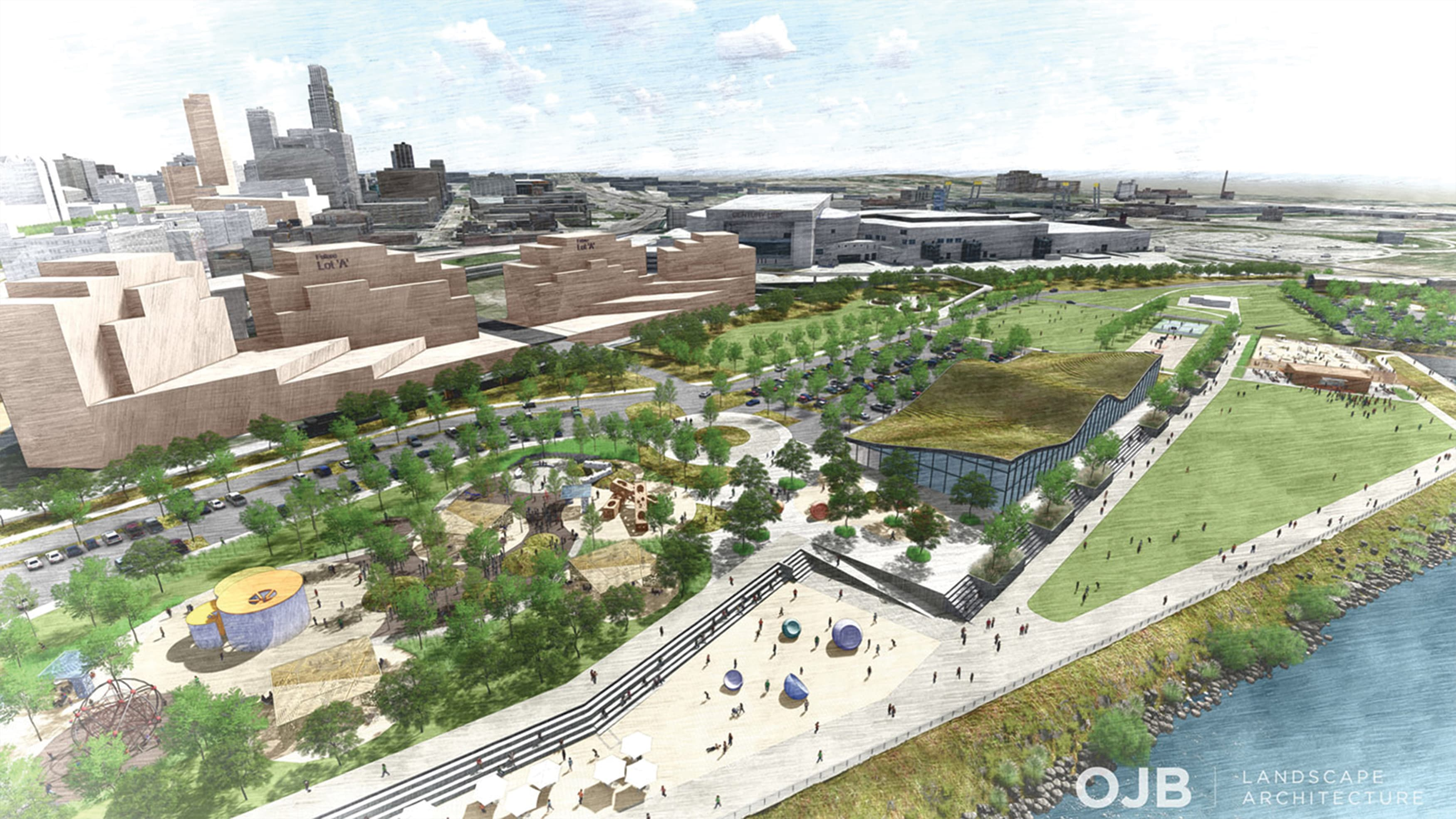 A rendering of the Missouri Riverfront Revitalization Project depicting expanses of open space, play areas, and buildings.