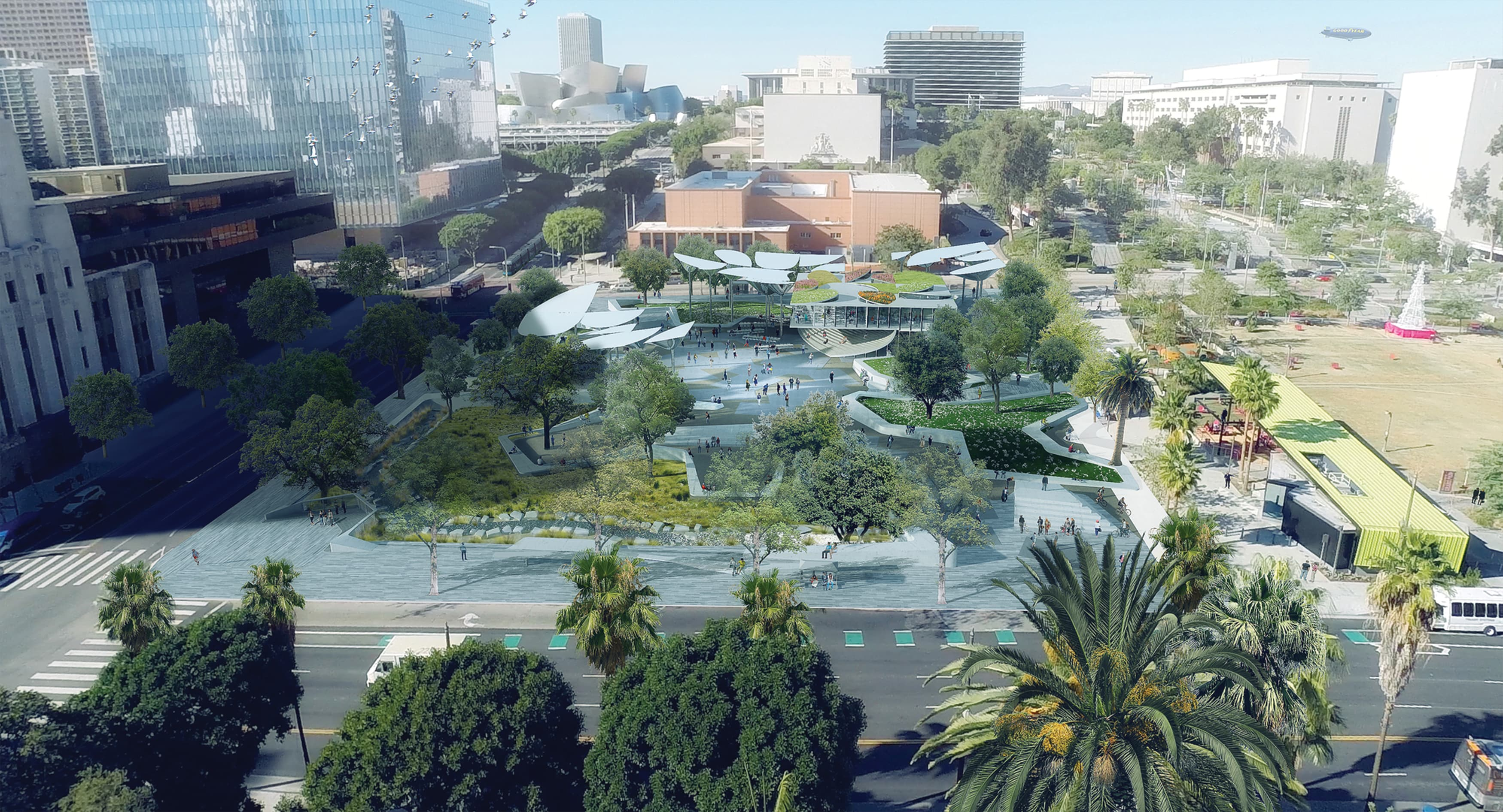 An aerial rendering of the First and Broadway (FAB) Park project.
