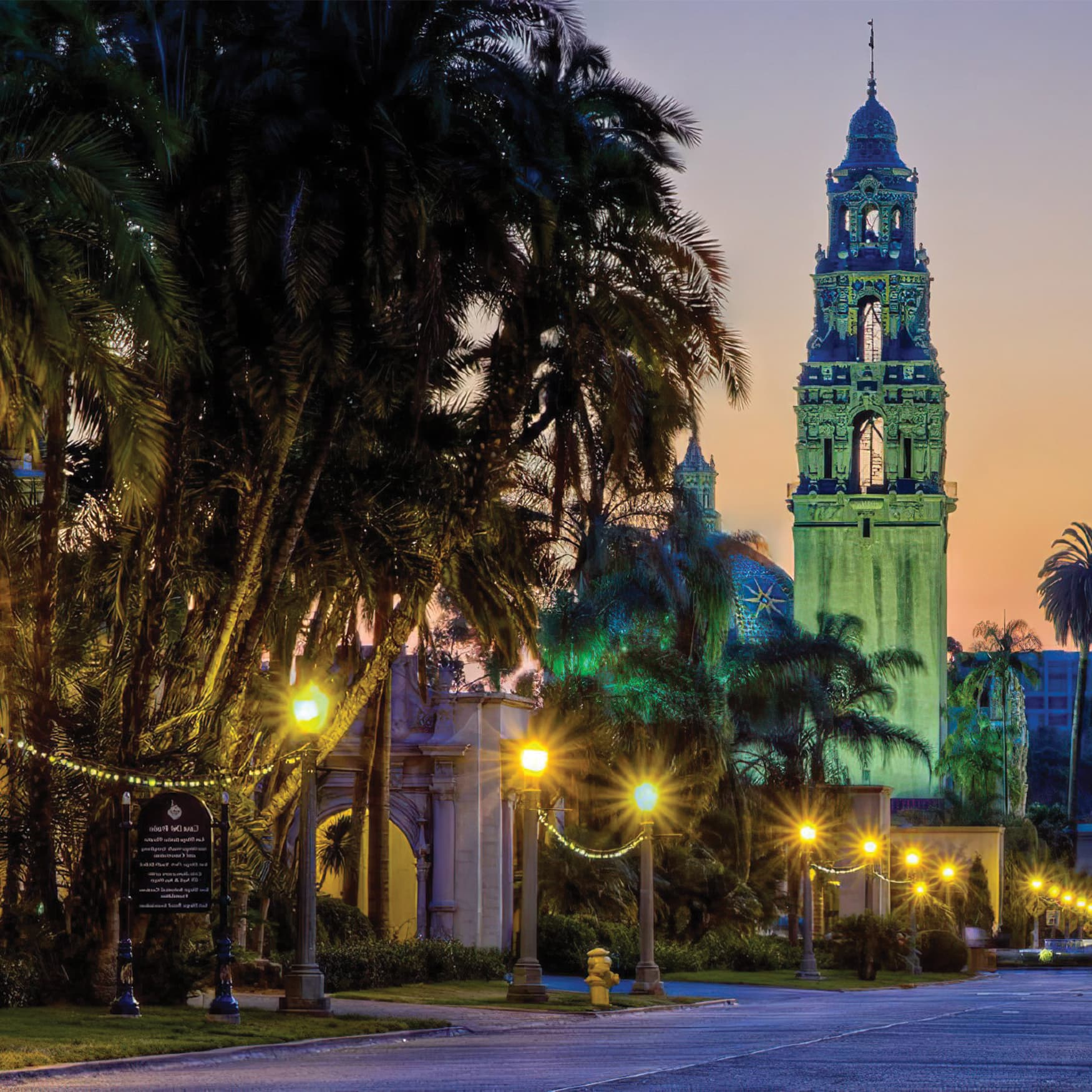 Historical church tower located in Balboa Park, San Diego