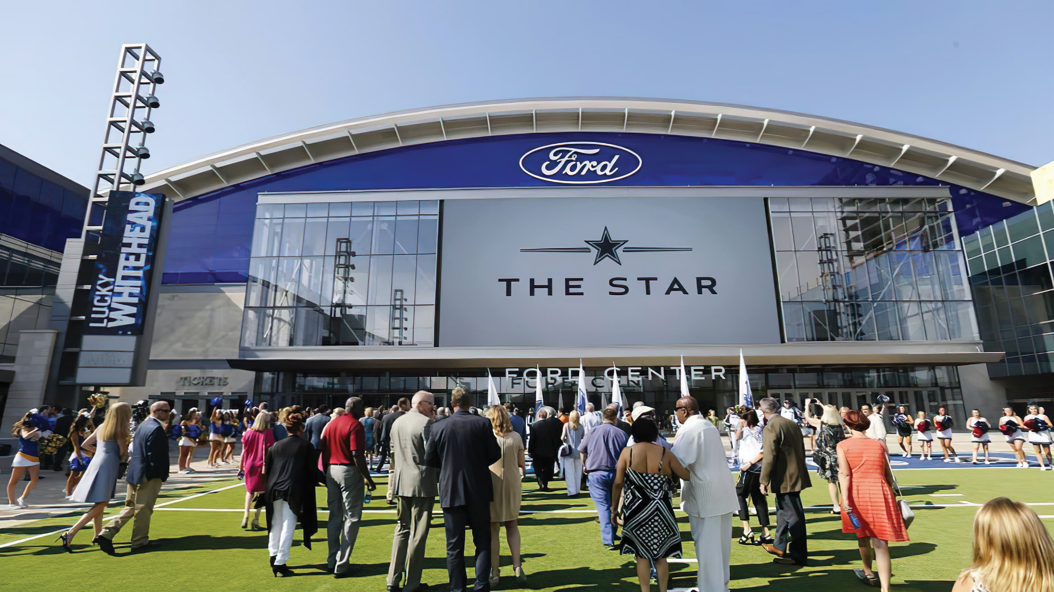 A crowd gathers for the grand opening of Dallas Cowboys' new corporate headquarters and training facility