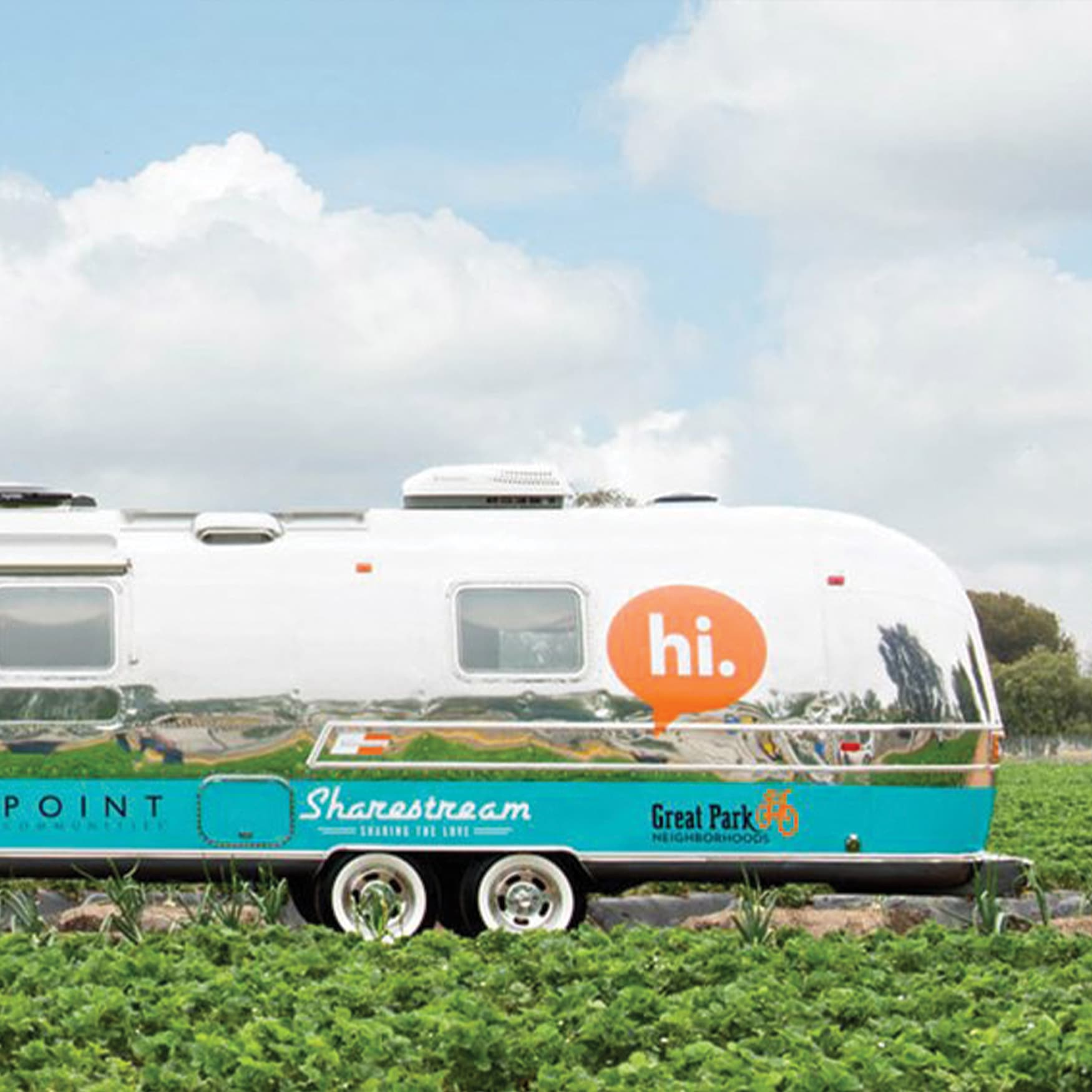 An airstream trailer with friendly, bold graphics for RSM and Fivepoint's Great Park Neighborhoods project.