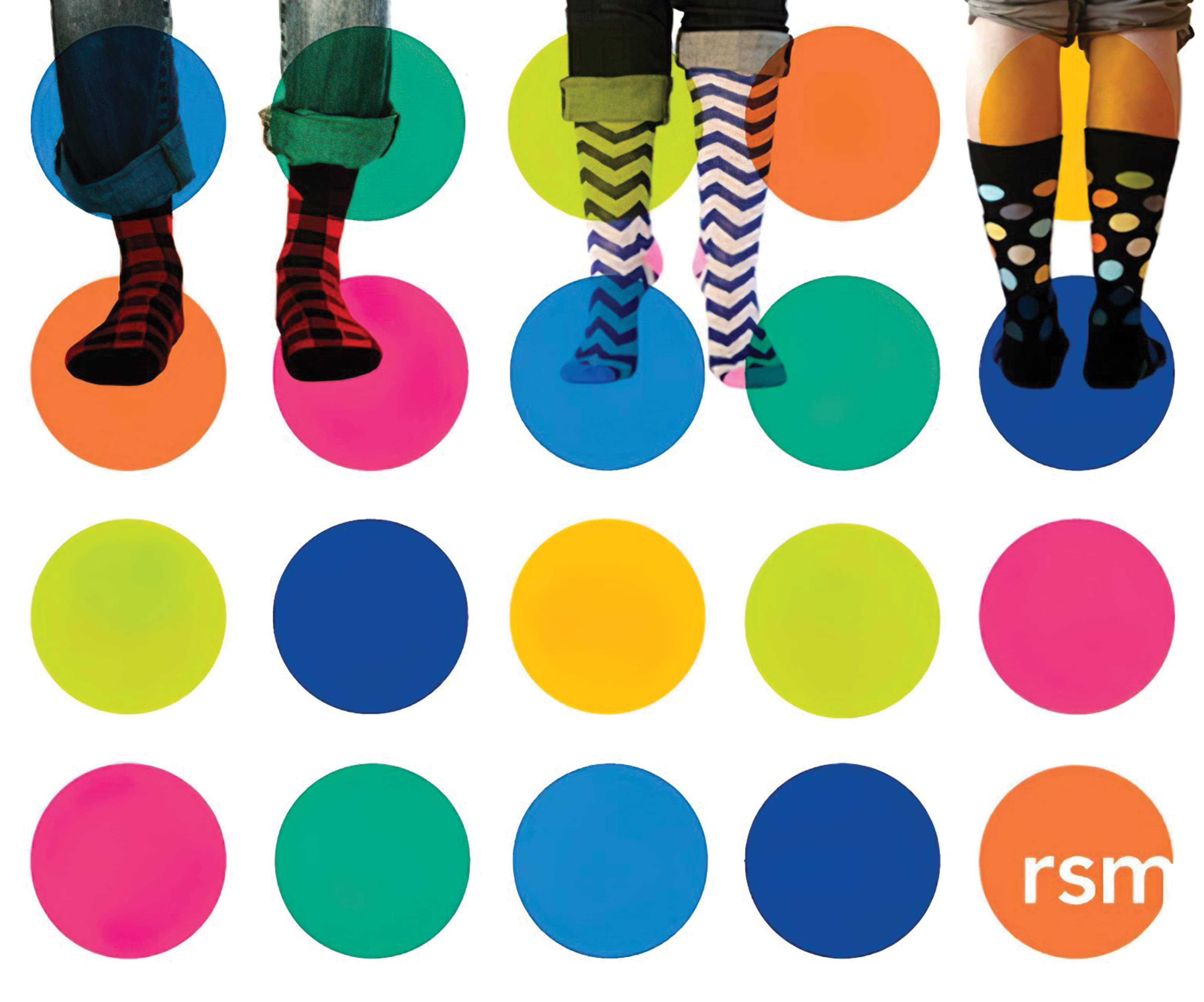 A graphic depicting socks and the RSM logo along with a pattern of multi-colored dots.