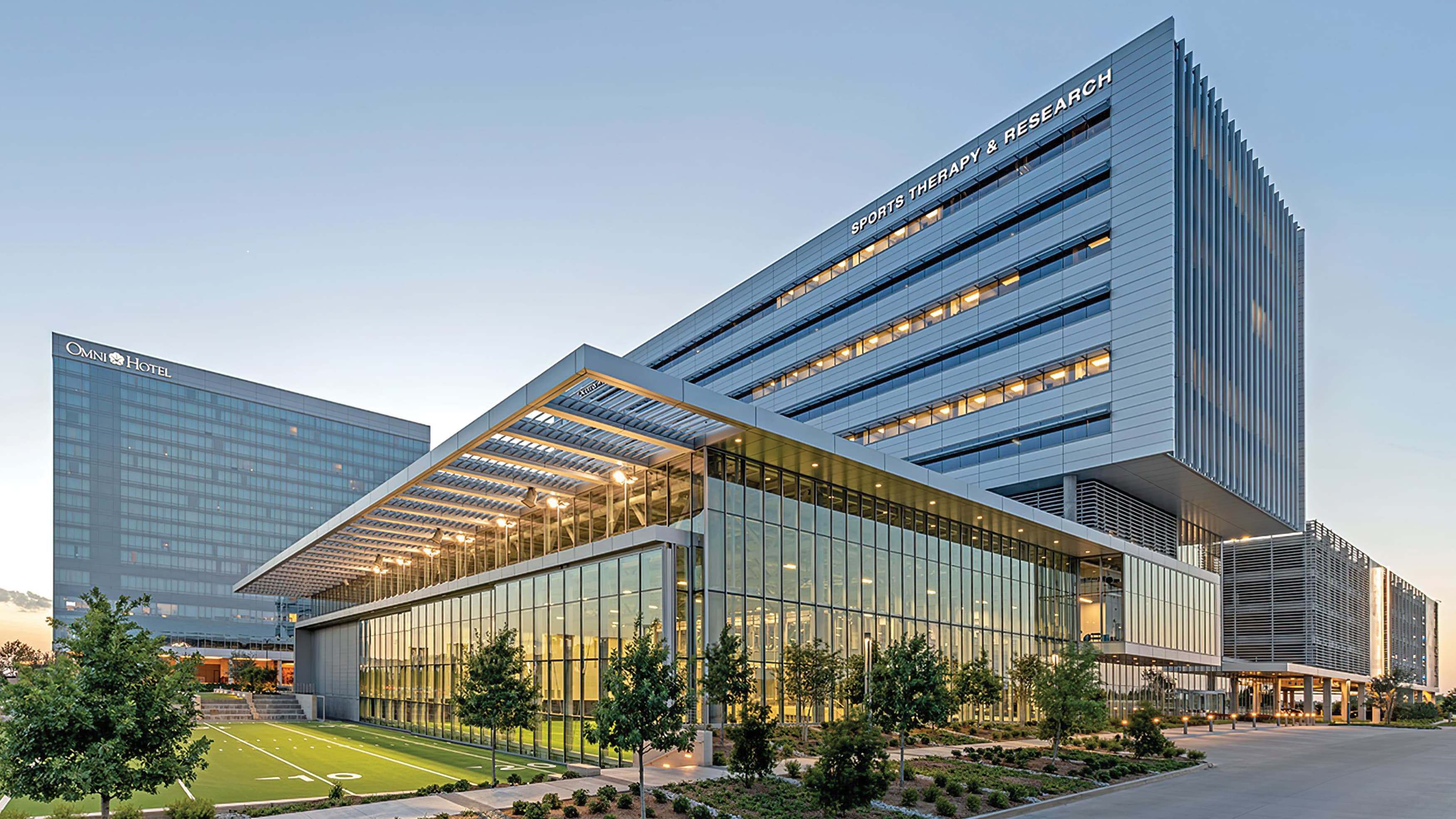 An exterior photograph of the Baylor Scott & White Sports Therapy & Research building at The Star in Frisco, Texas.