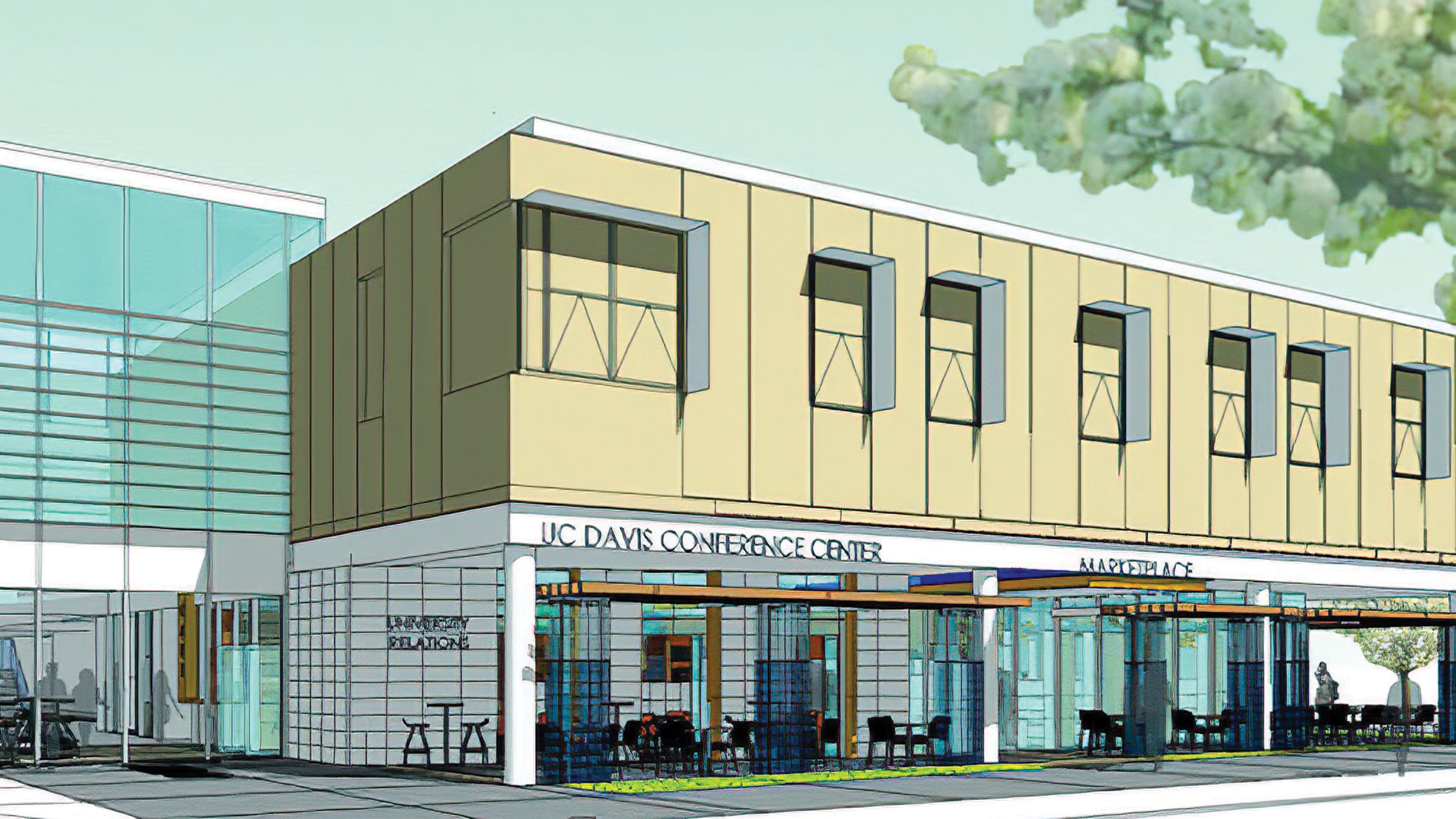 Architectural rendering of of UC Davis Conference Center