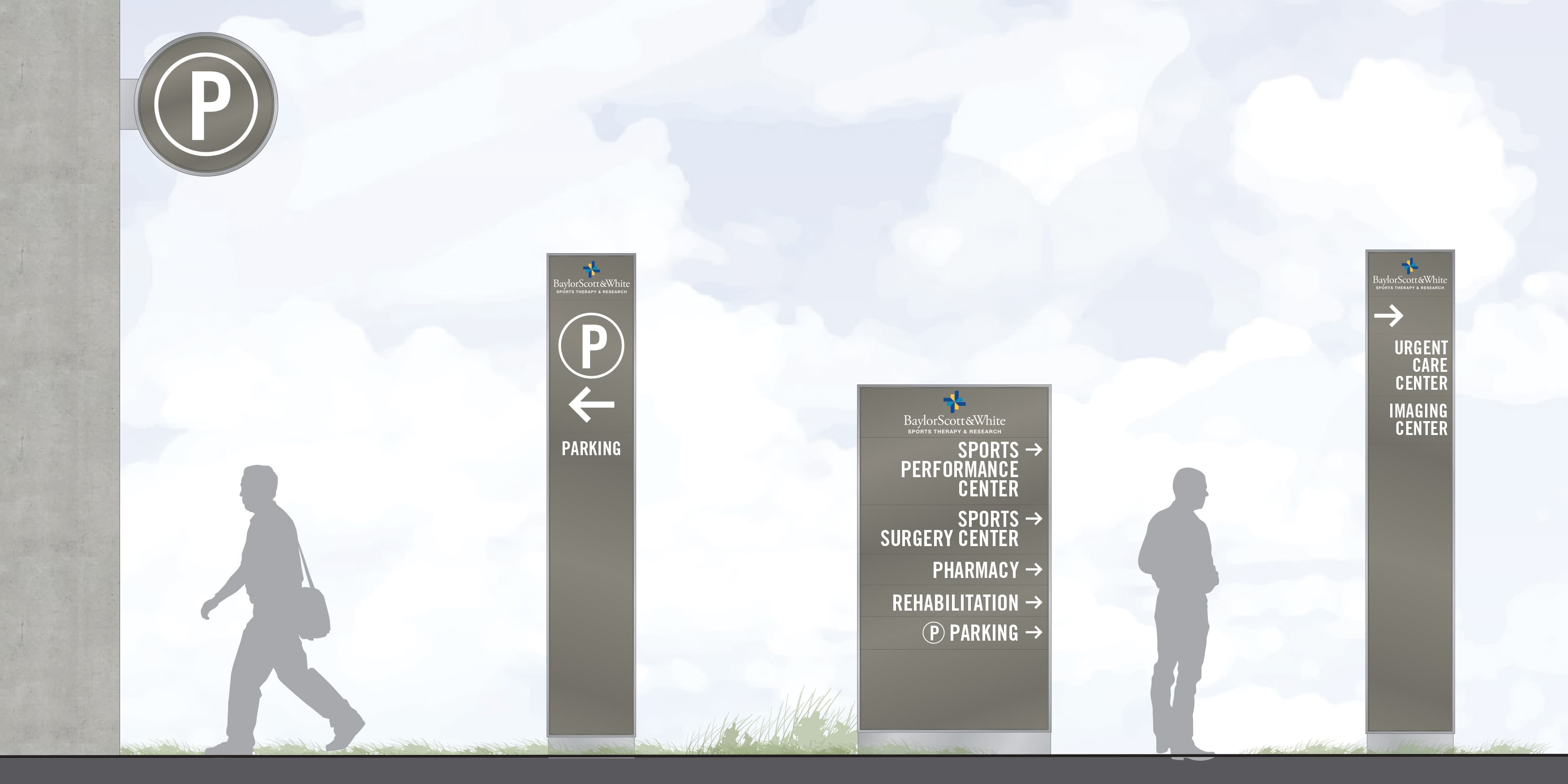 Baylor Scott & White Sports Therapy, a sports medical complex located in Frisco, Texas. Wayfinding Signage Design. Pedestrian Directional Signage. Parking Signage.