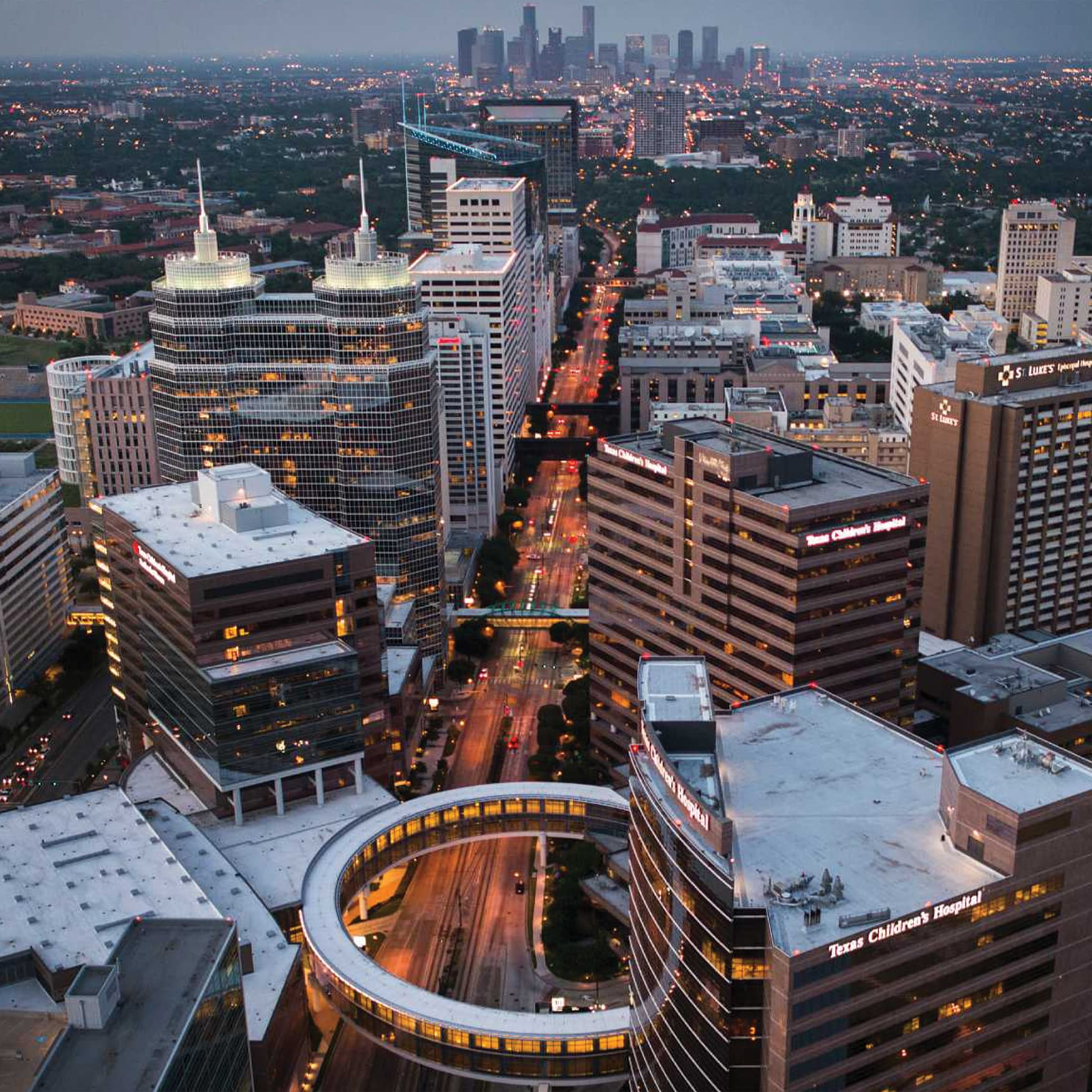 An aerial photograph of Houston's Texas Medical Center, the largest medical complex in the world.