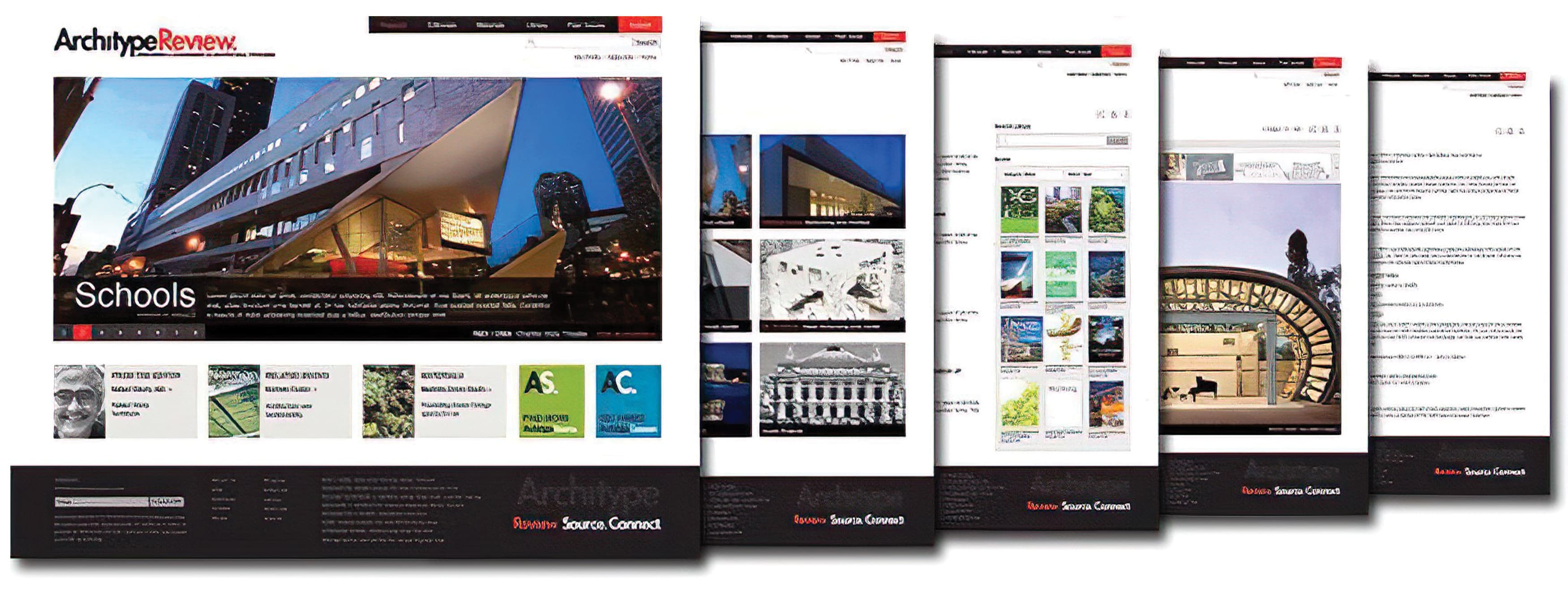 A series of windows from the new website designed for Architype Review.