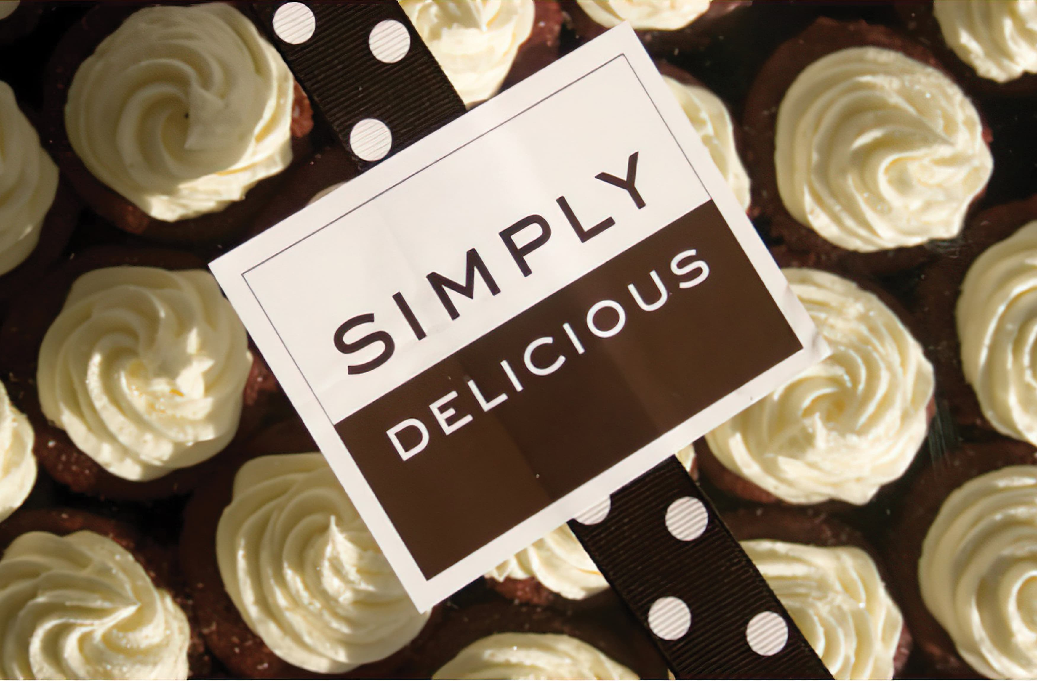 The new Simply Delicious brand on top of some baked goods.