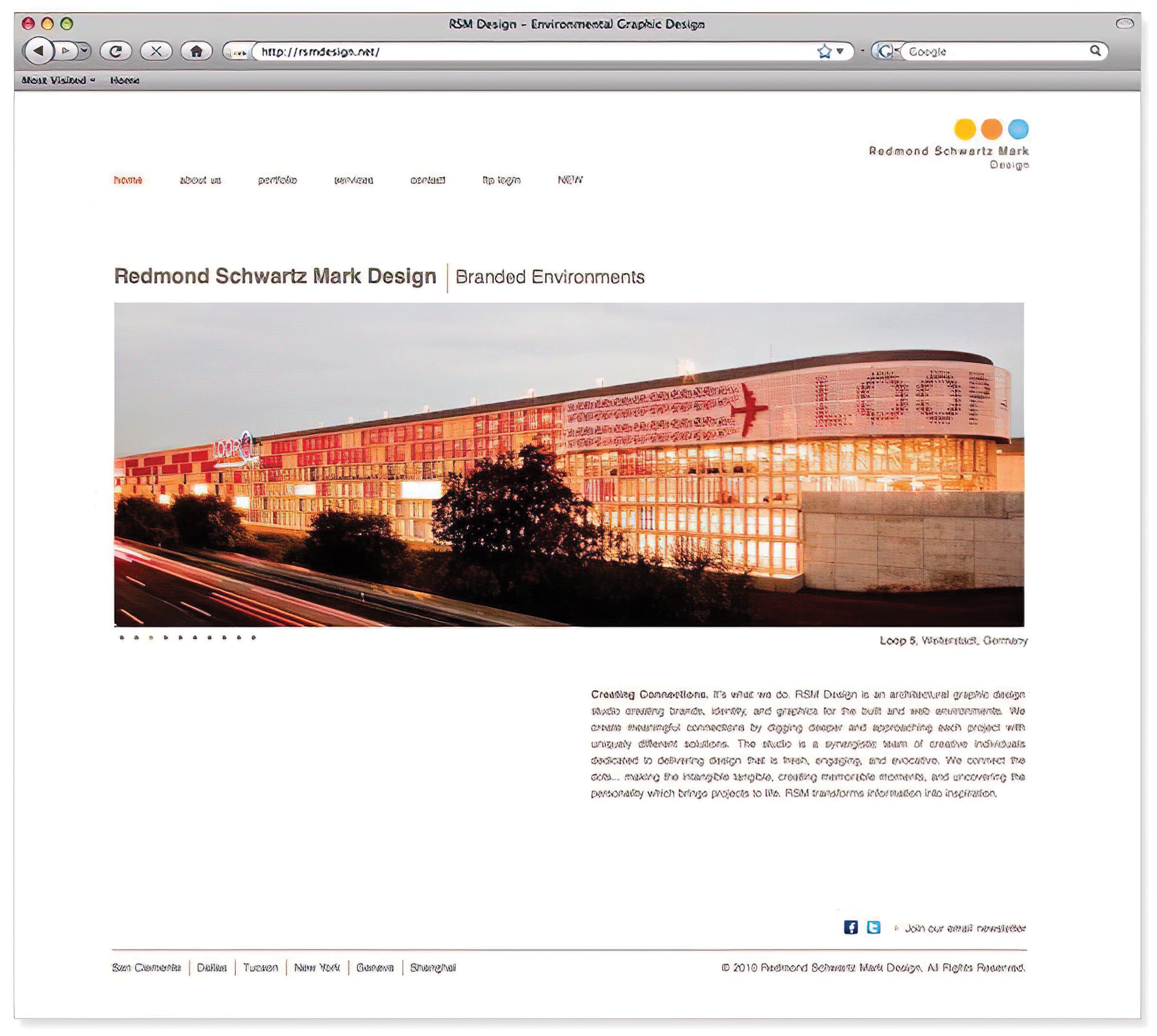 A screenshot of RSM Design's newly rebuilt website.