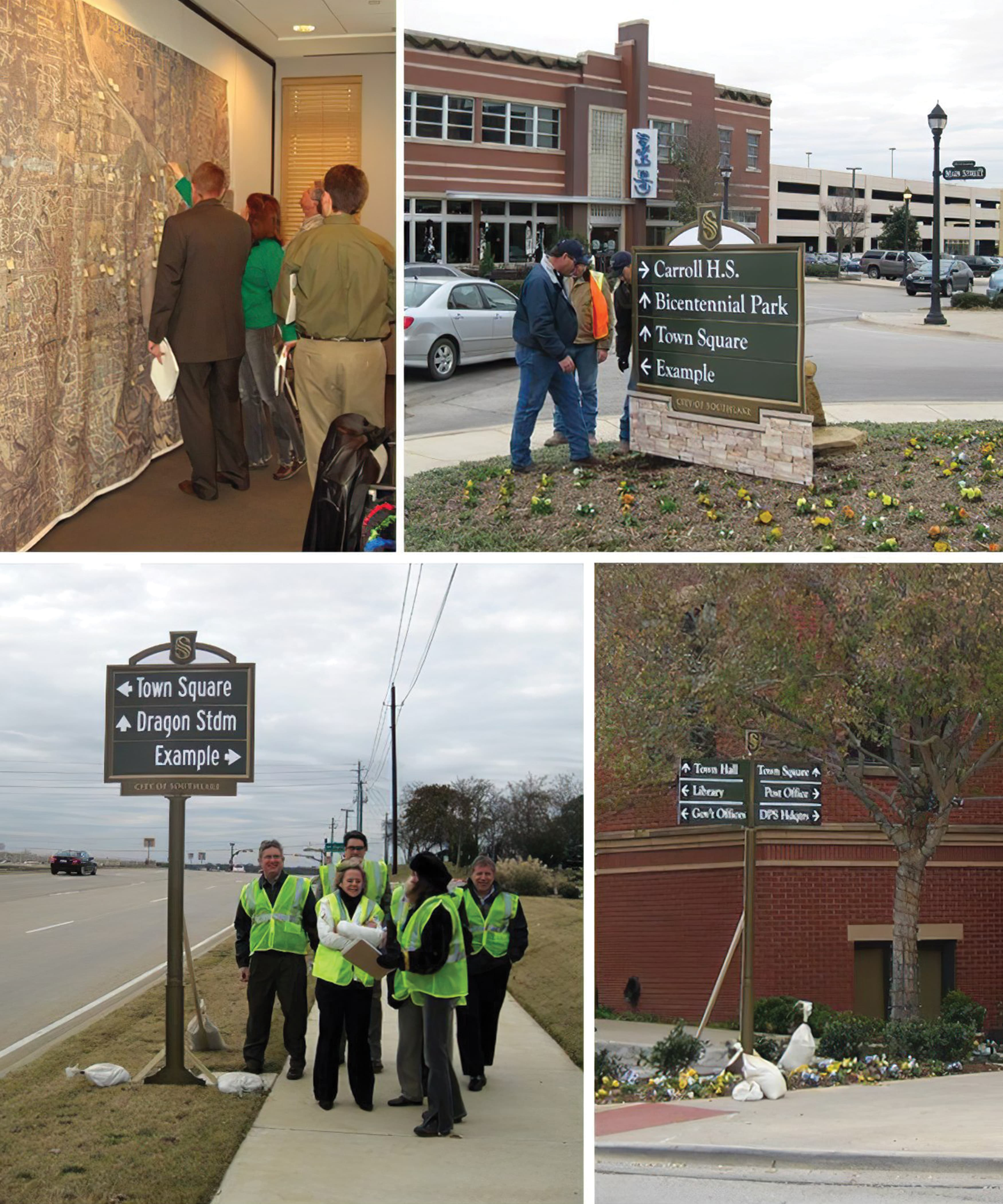 A number of photographs taken during the city review of the mock-ups of wayfinding signage.