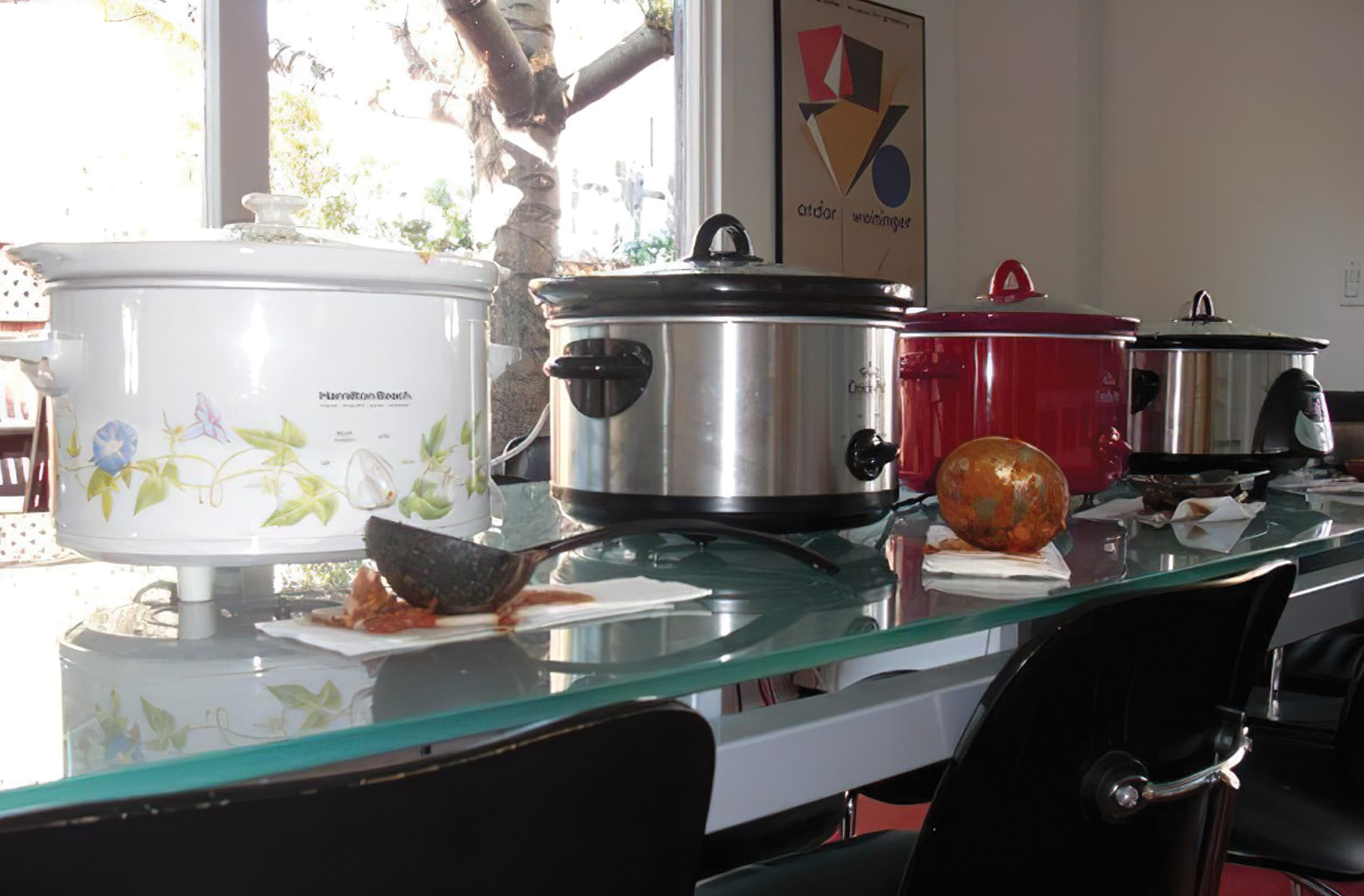 A photograph of some slow cookers taken during 2nd Annual RSM Chili Cook-Off.