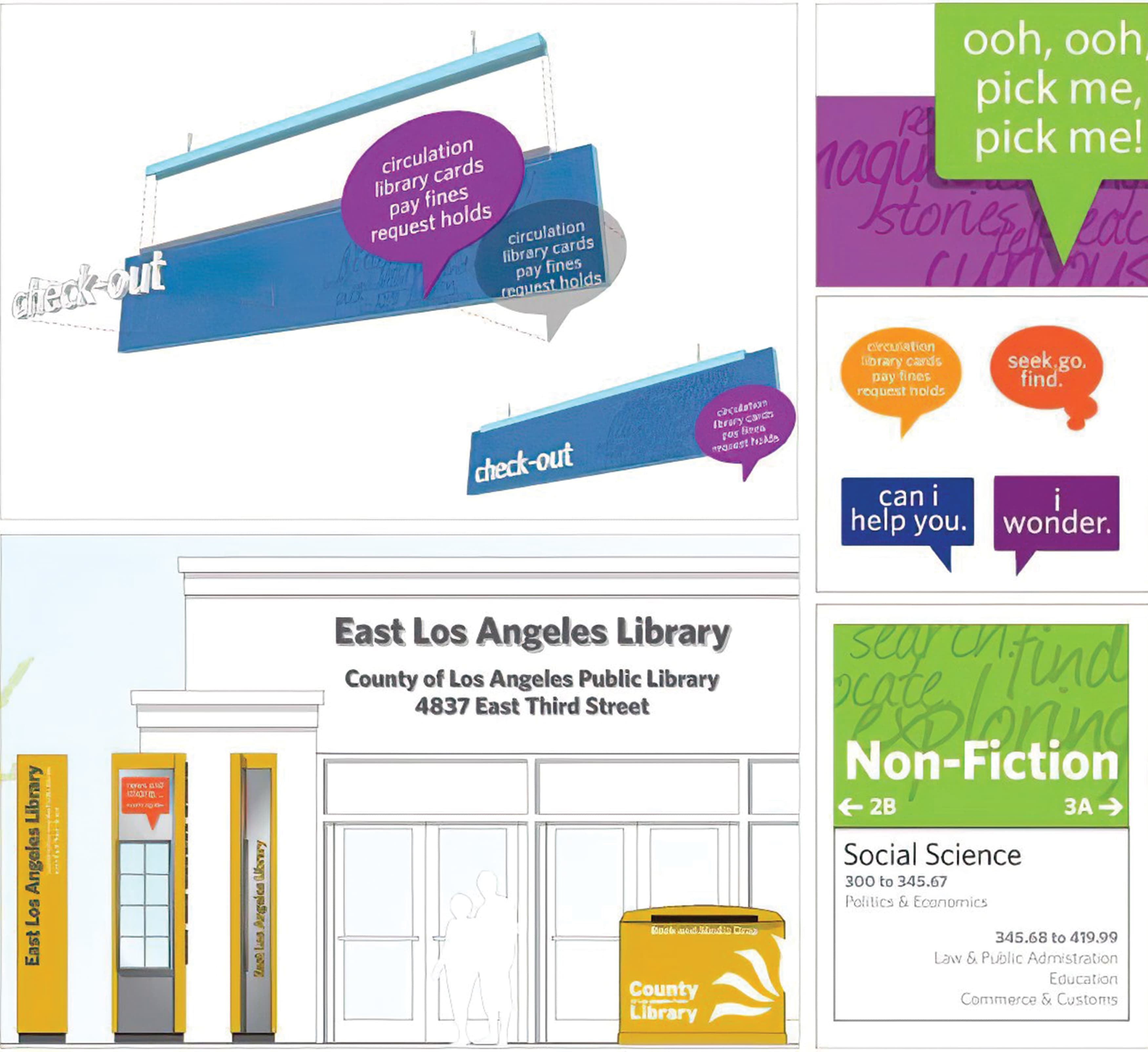 Concepts created by RSM Design for the Los Angeles County library system.