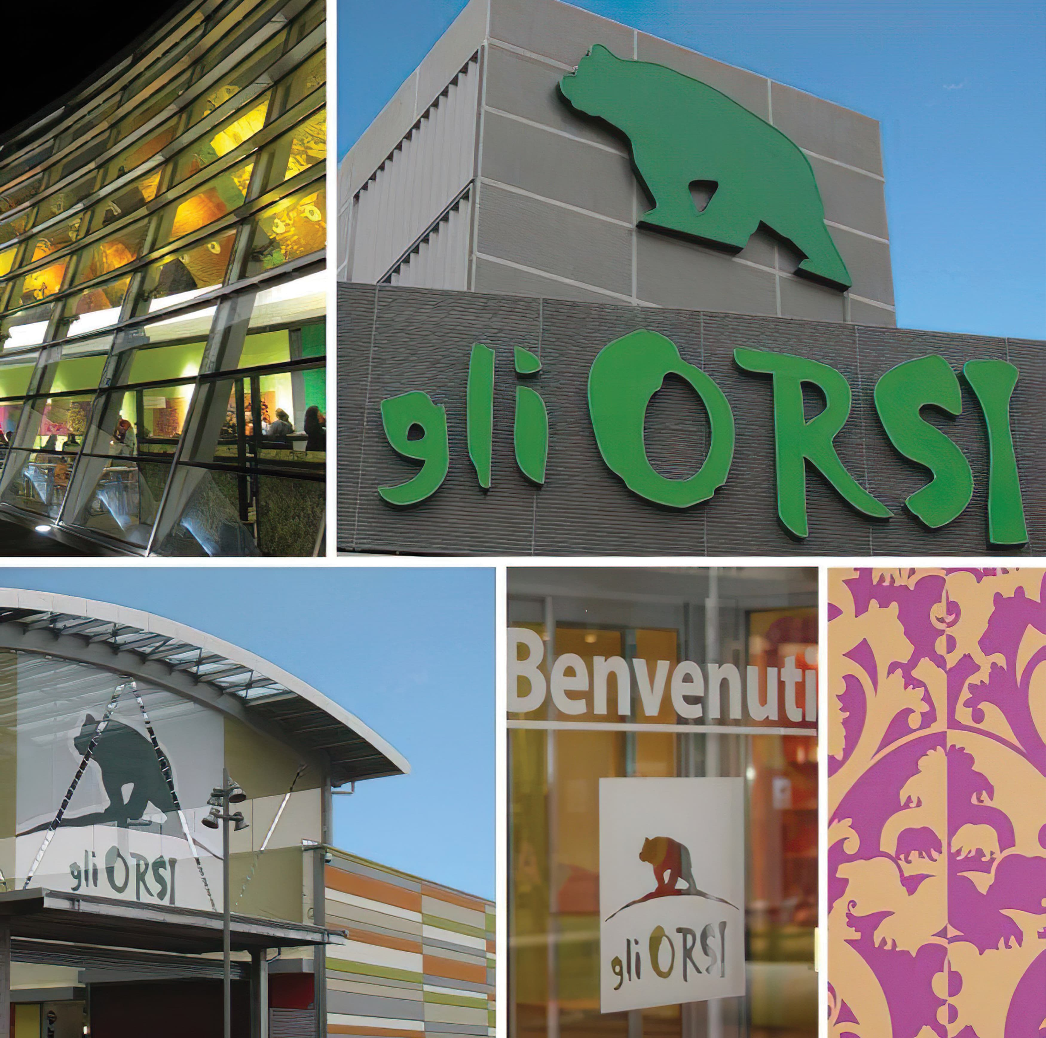 A number of signs RSM developed for the wayfinding and identity signage program at Gli Orsi in Biella, Italy.