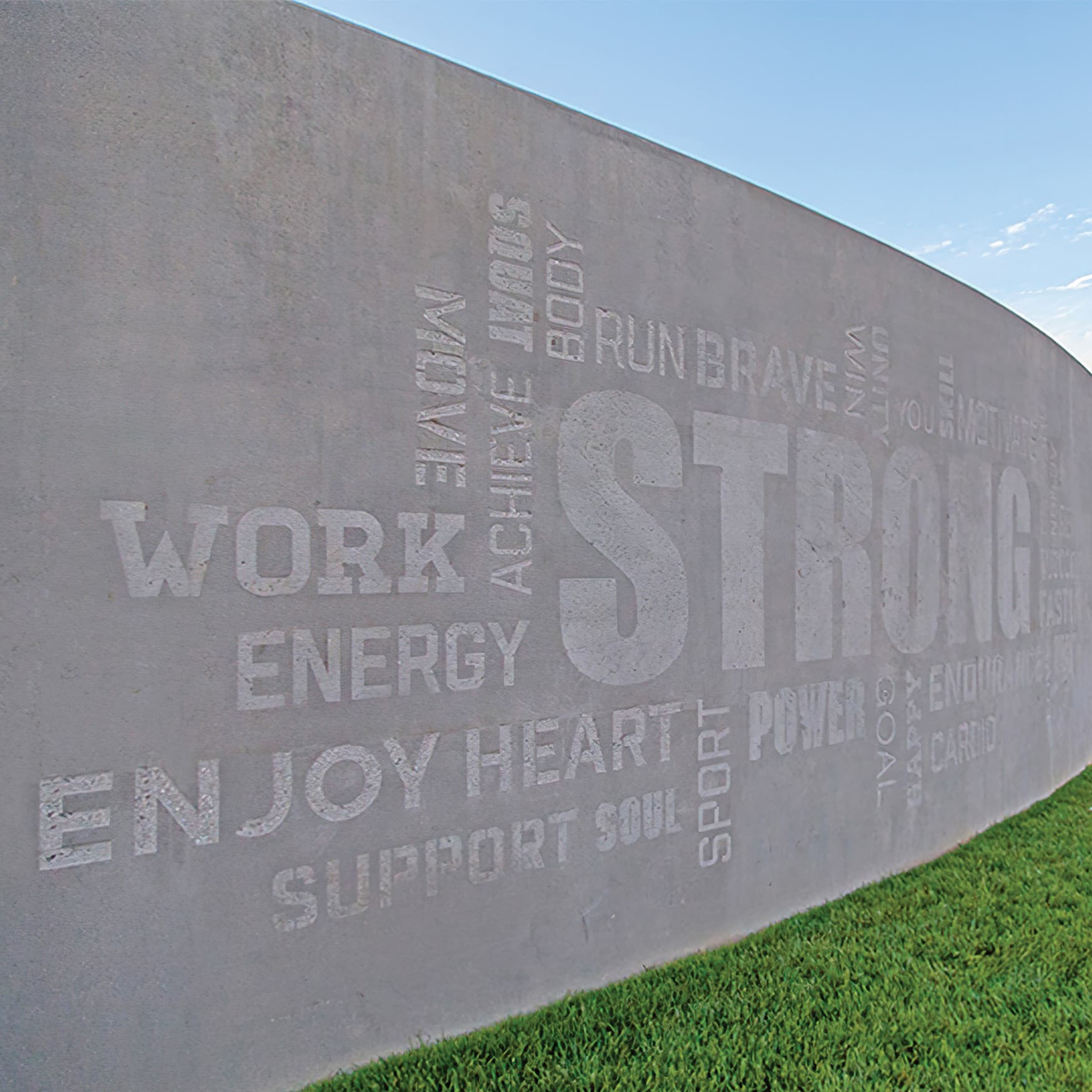 Specialty super graphic typography wall design located at The Pools in Irvine California