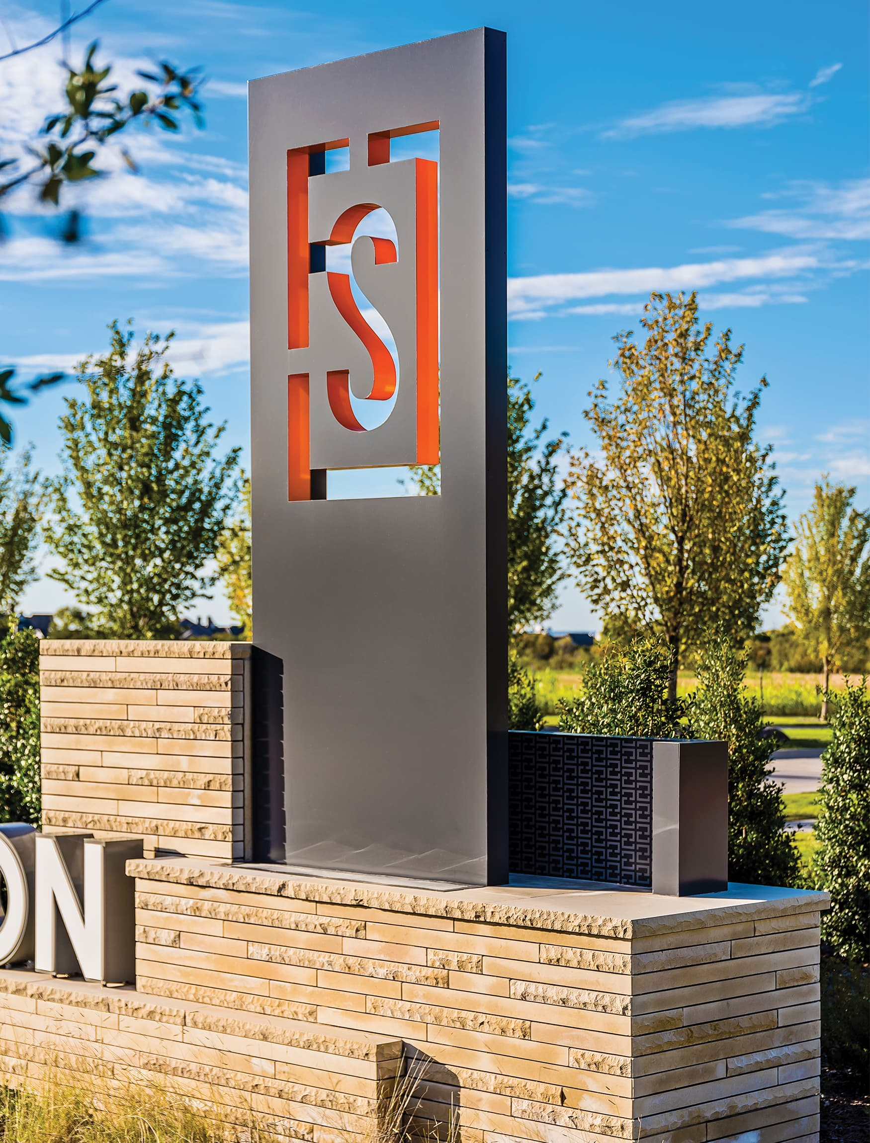 Frisco Station, a mixed-use project in Frisco, Texas, project identity monument
