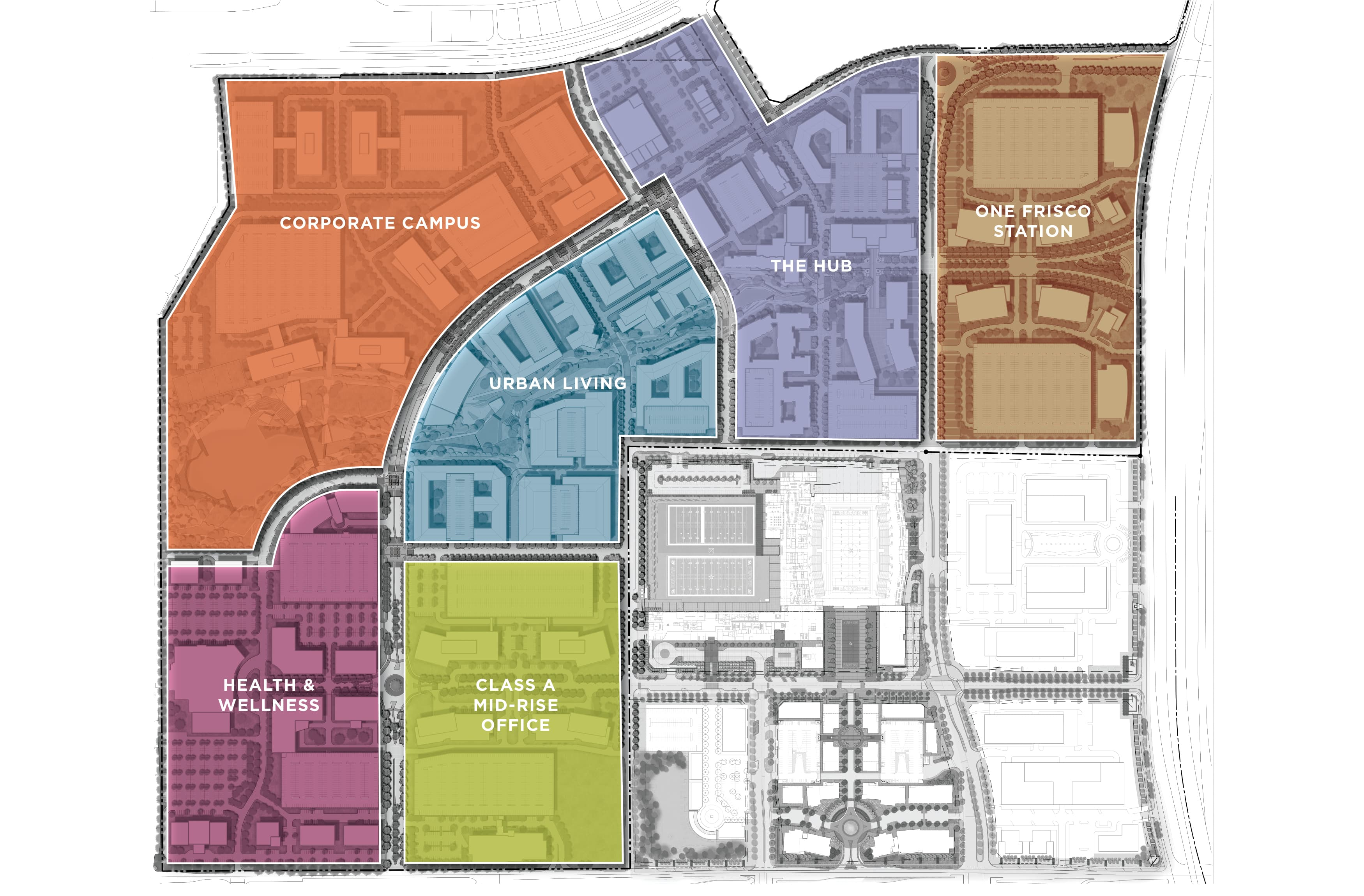 Frisco Station, a mixed-use project in Frisco, Texas, district identity map and master sign plan