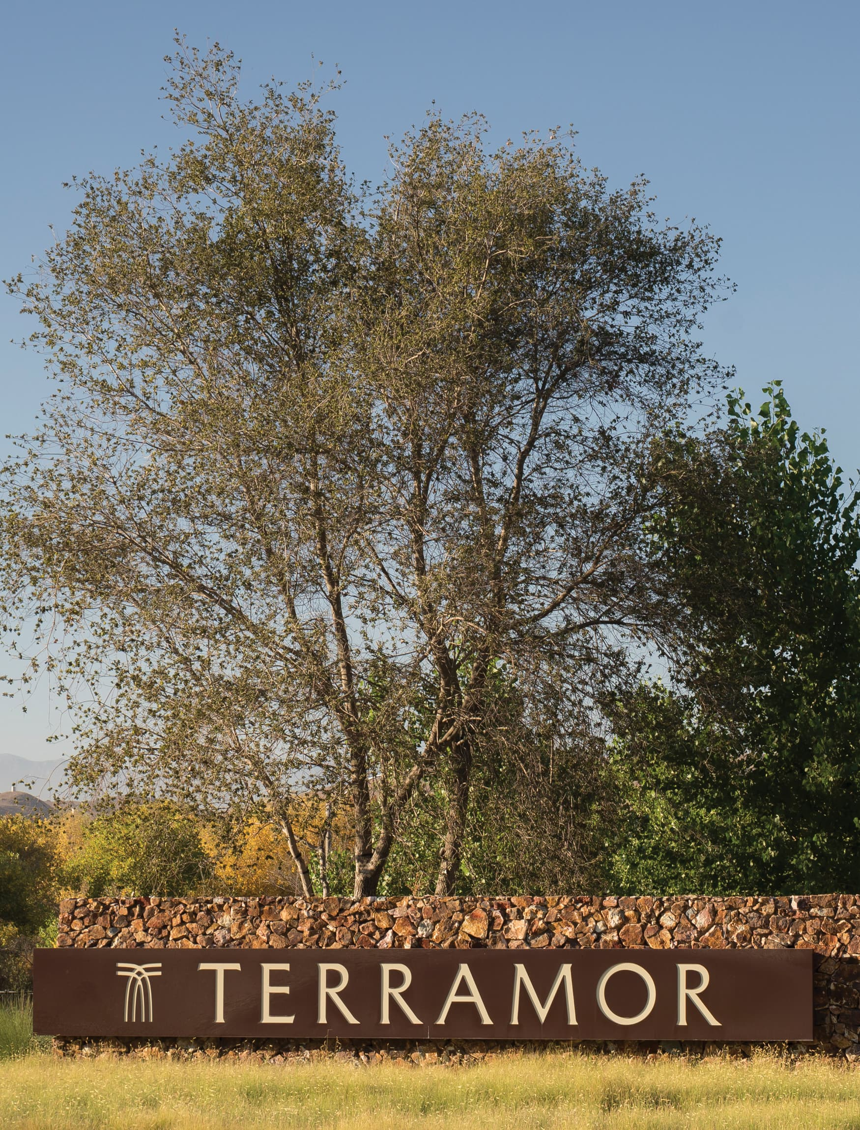 Terramor, a residential community in Corona, California. RSM Design. Stacked Stone Landscape Wall with Project Identity. Residential Placemaking Gateway.