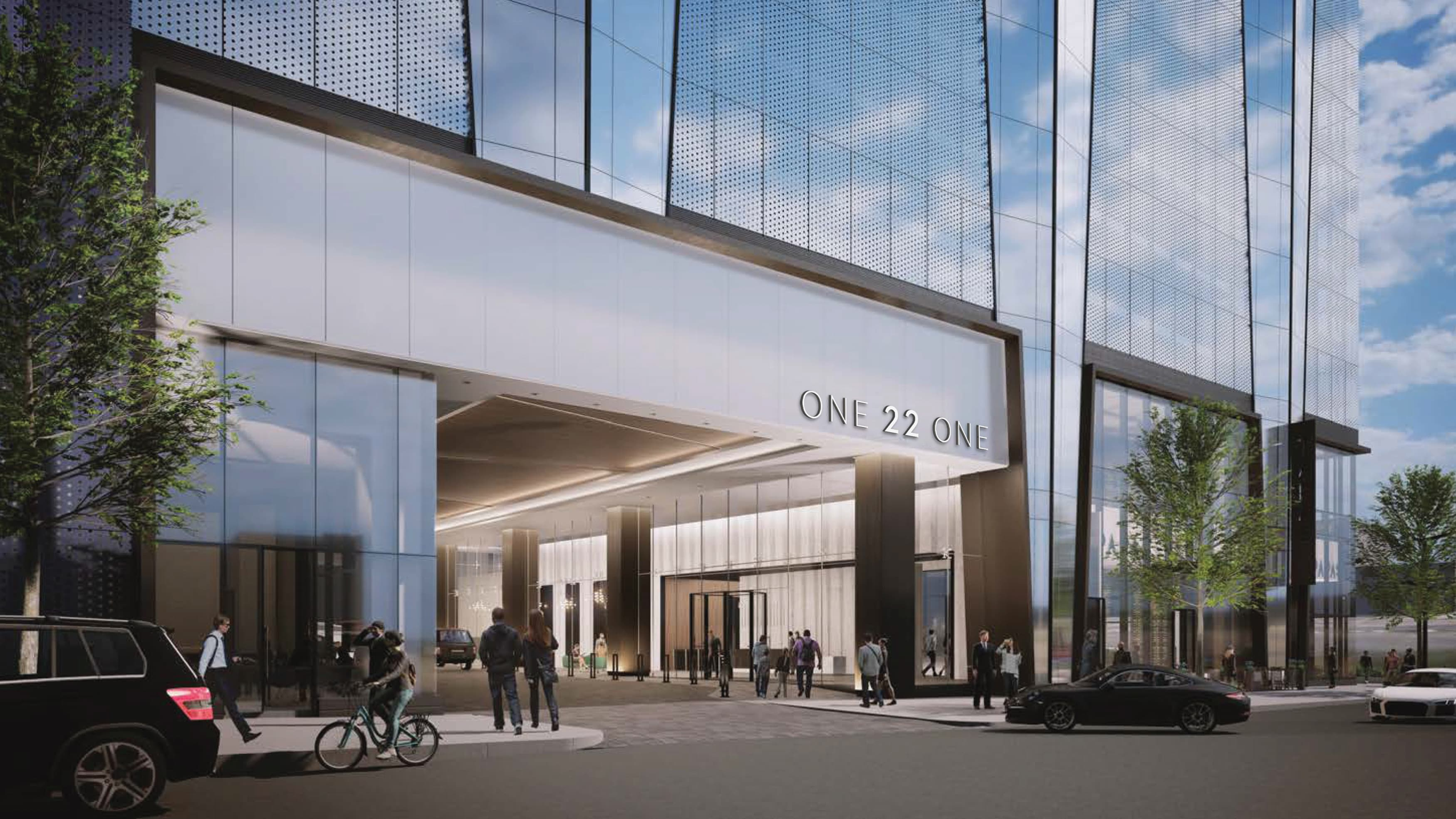 Architectural rendering of building entrance with applied building identity.