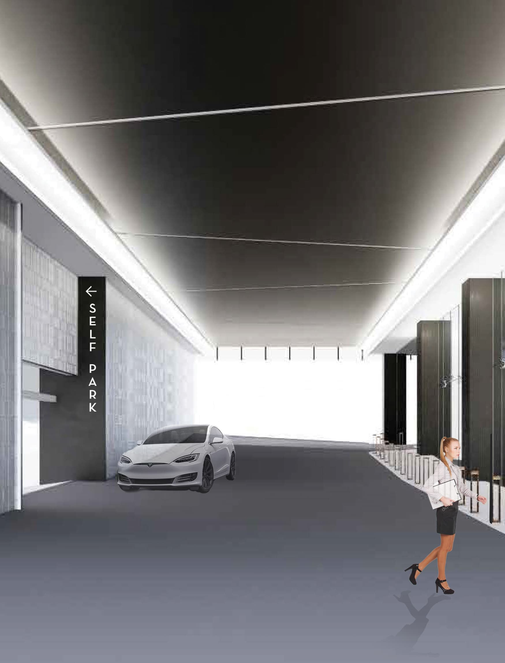 One22One, a mixed-use and workplace project in  Nashville, Tennessee. Valet signage and parking garage signage.