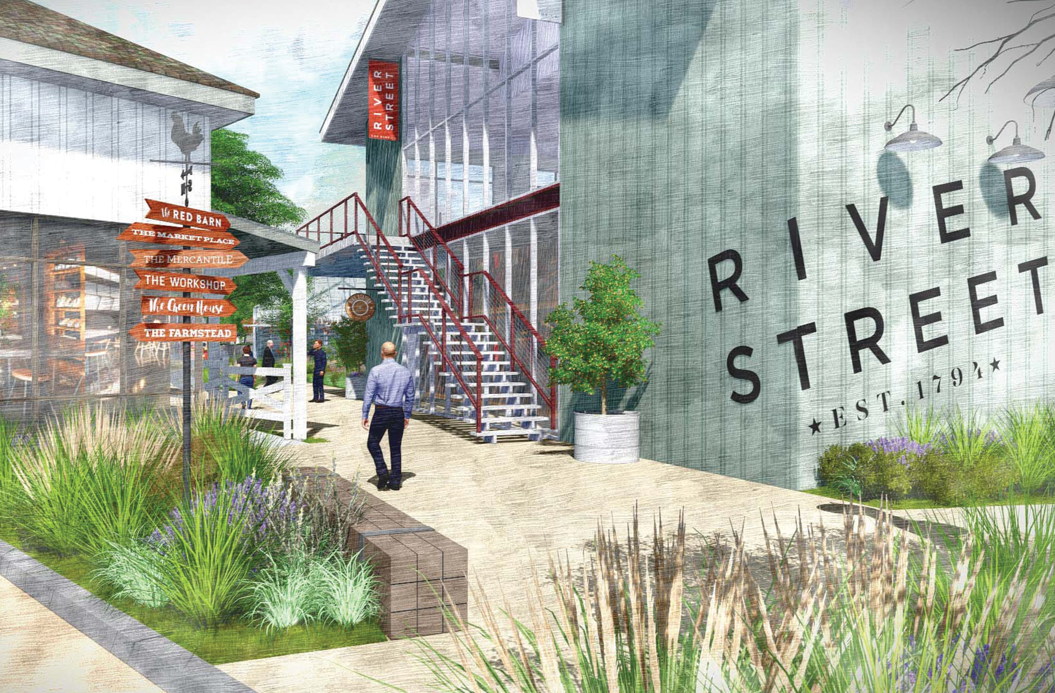River Streeet, a mixed-use project in the historic and cultural center of San Juan Capistrano, California. RSM Design prepared wayfinding solutions and graphic architecture applications.