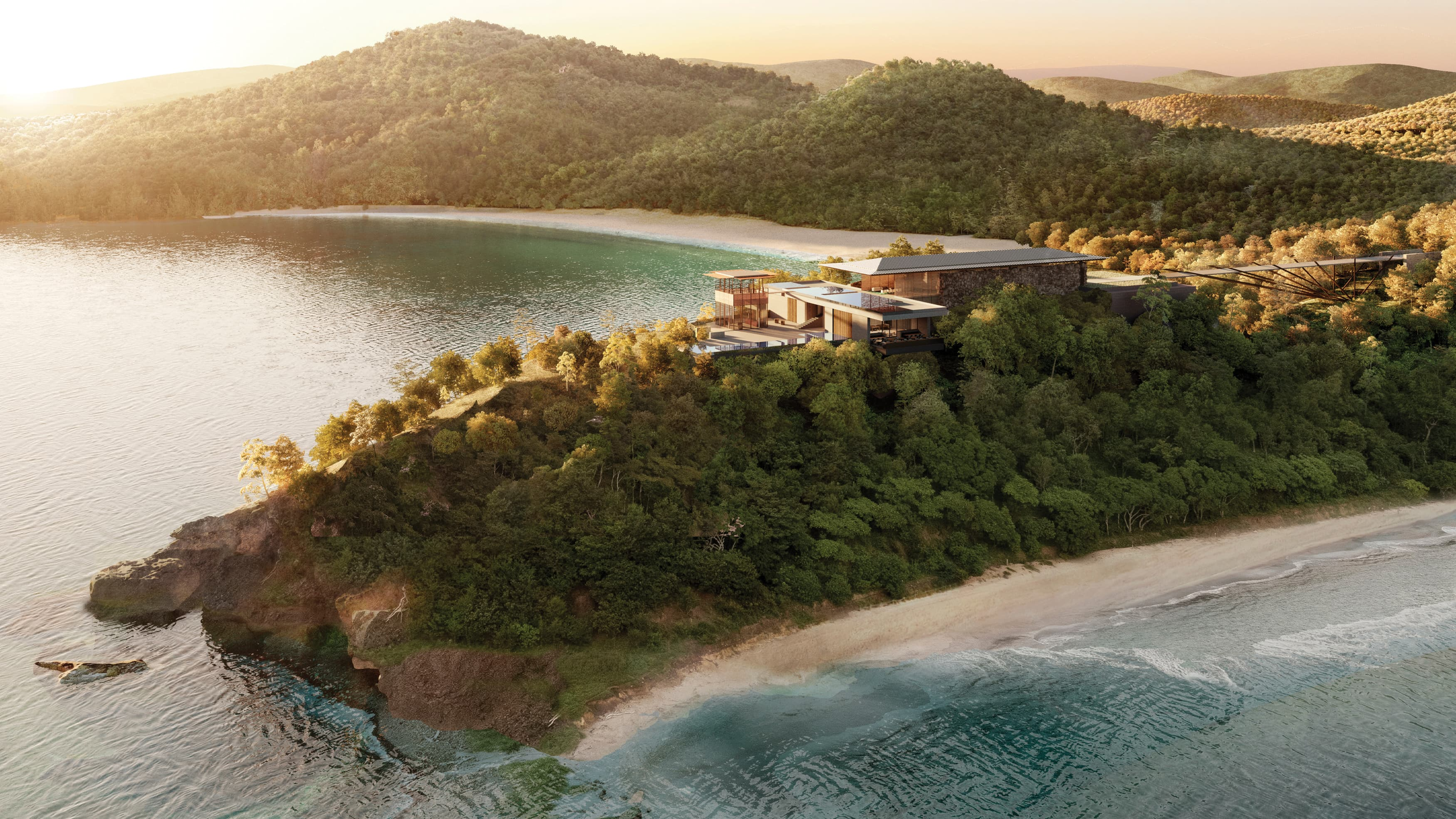 Aerial view of Aman resort surrounded by lush greenery located in Costa Rica.