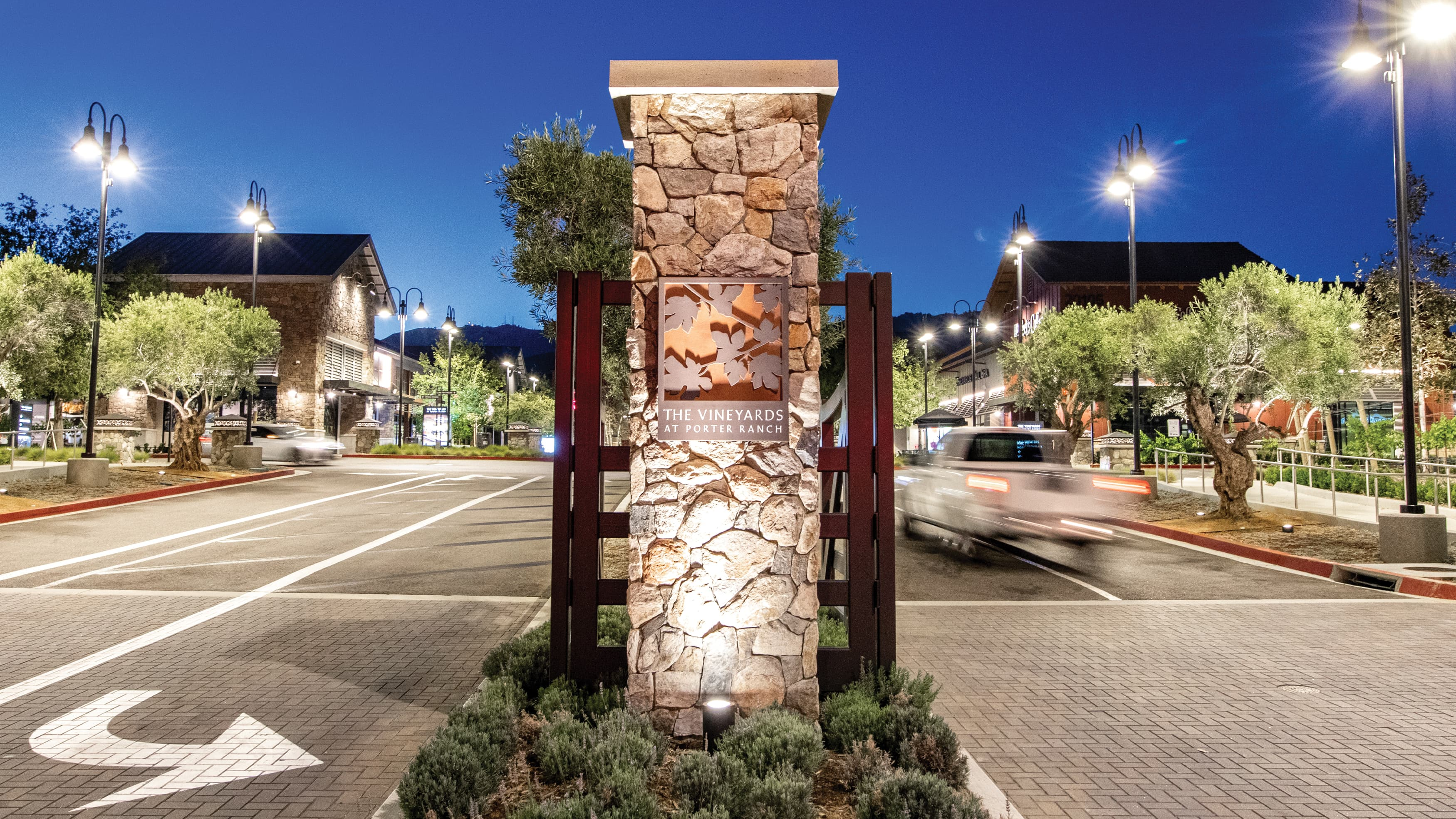 The entry monument for The Vineyards at Porter Ranch.
