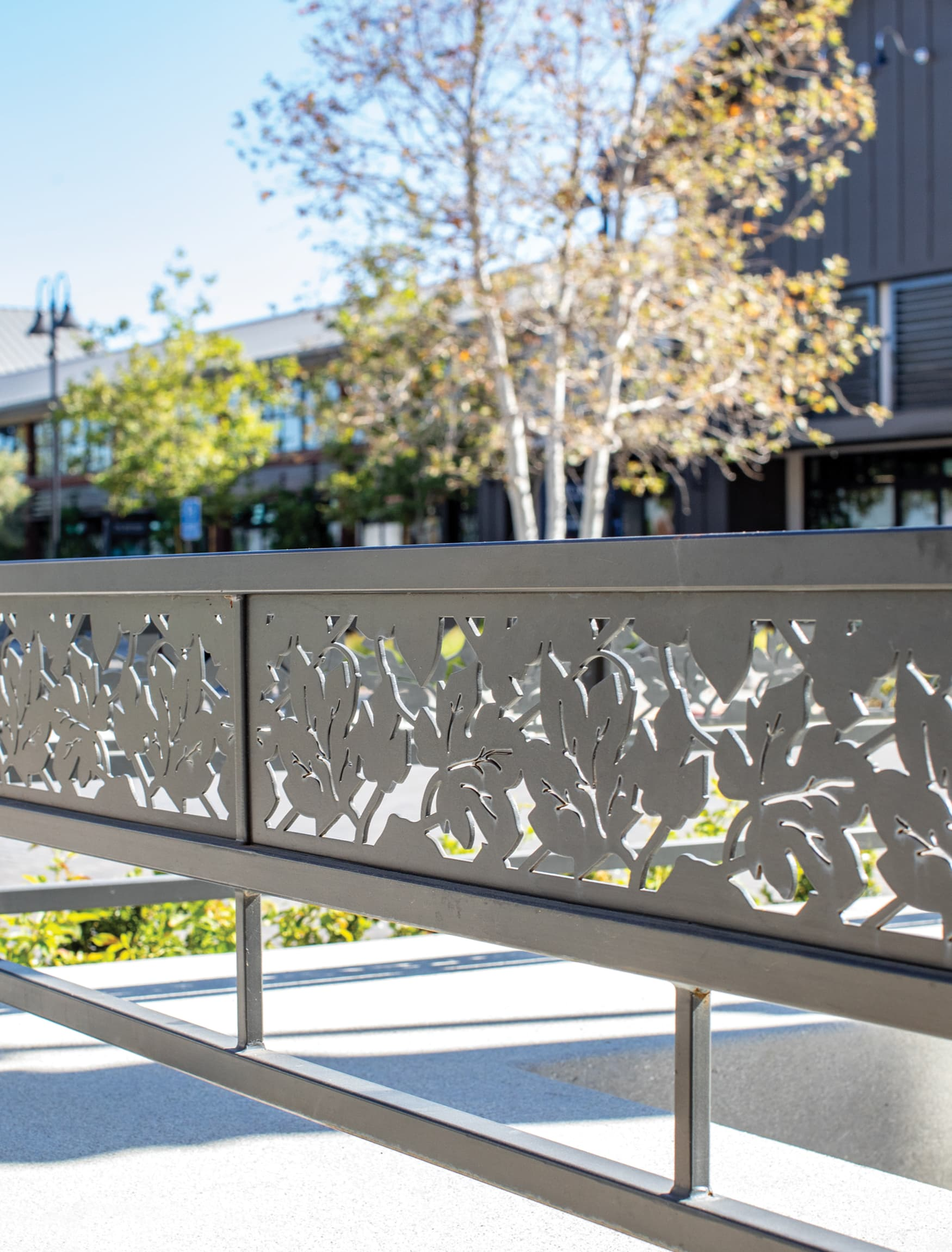 The Vineyard at Porter Ranch. Retail project placemaking. Cut metal pattern.