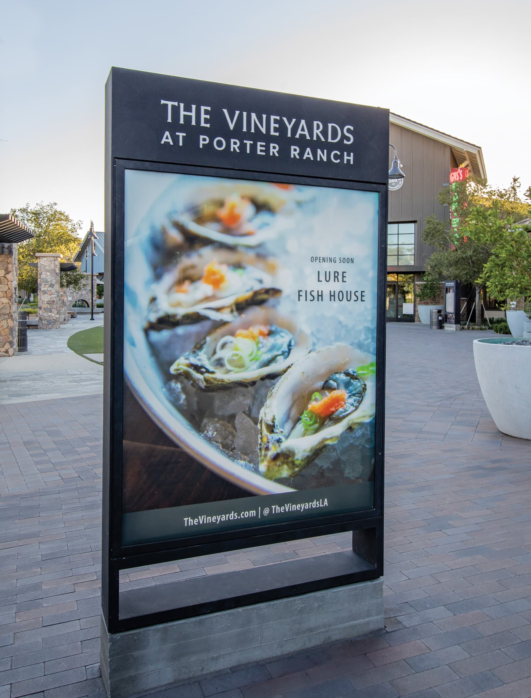 The Vineyard at Porter Ranch. Retail project advertising totem.