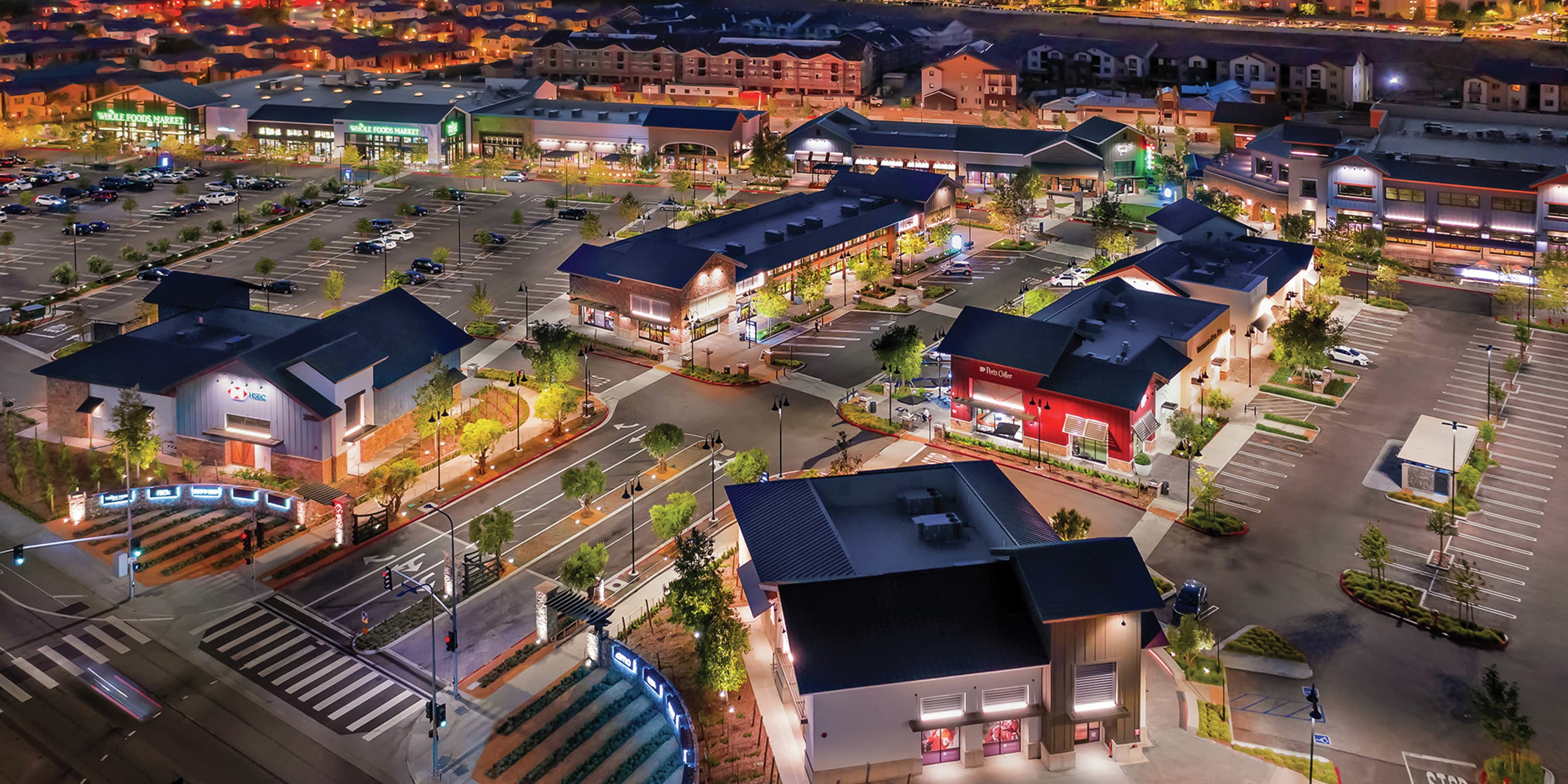 The Vineyard at Porter Ranch. Retail project vehicular directional wayfinding design. Aerial view of project.