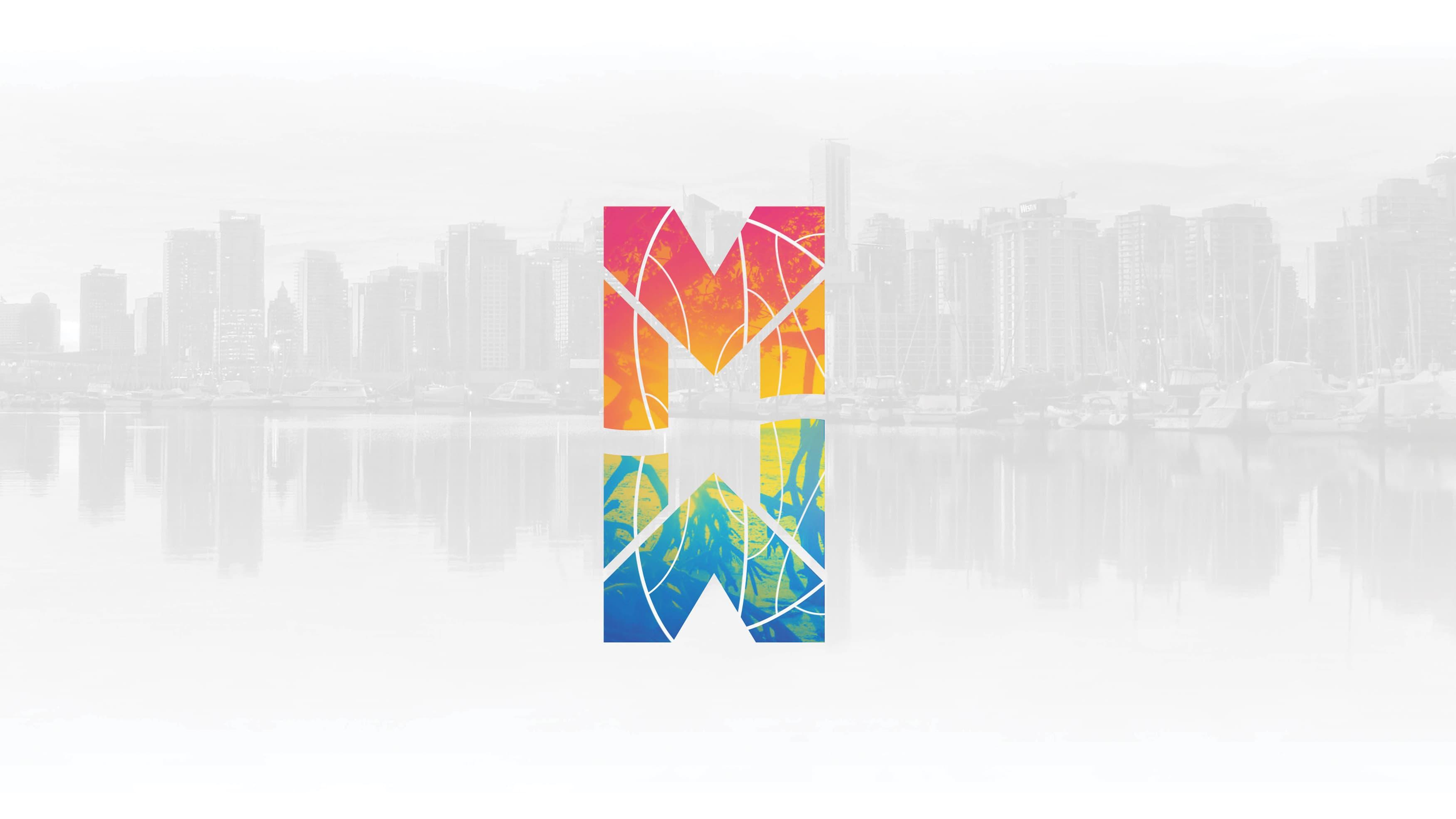 Miami Baywalk logo in multicolor on grey image background.