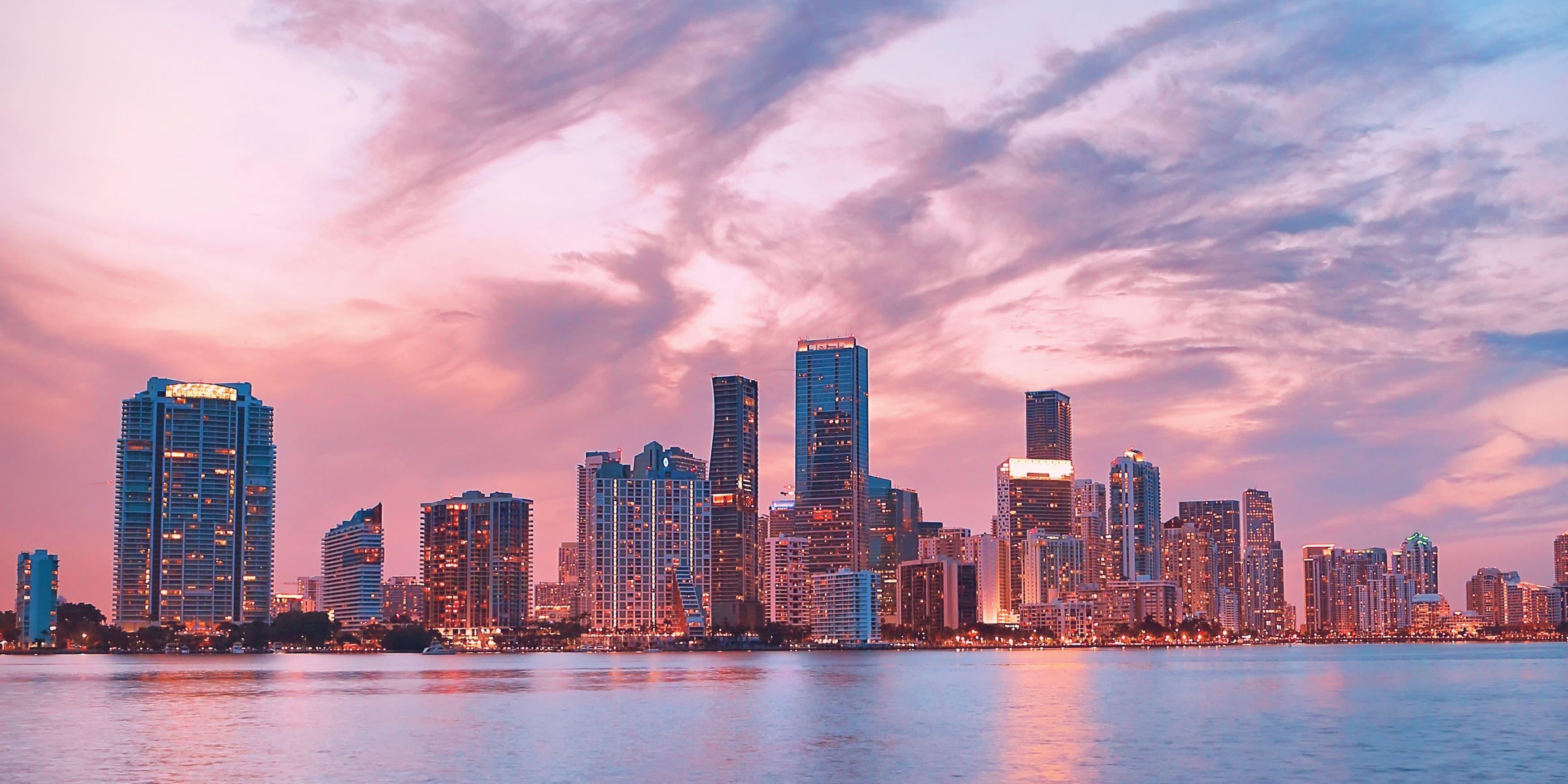 Miami, Florda Skyline with Pastel Skies
