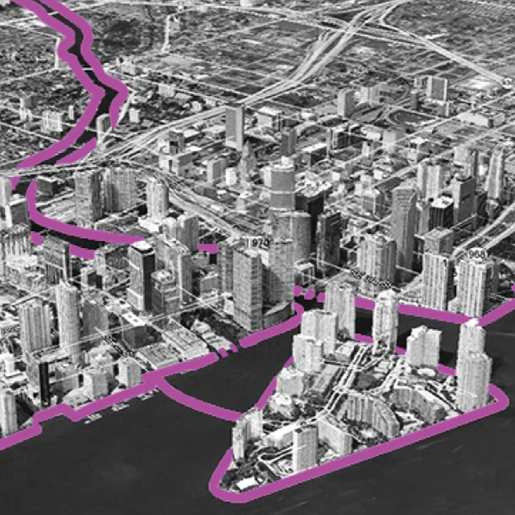 Miami Baywalk Waterfront Design Aerial Map
