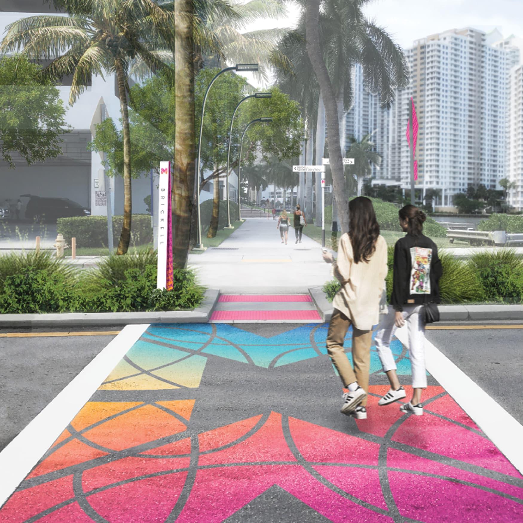 Miami Baywalk Waterfront Design and Crosswalk Design