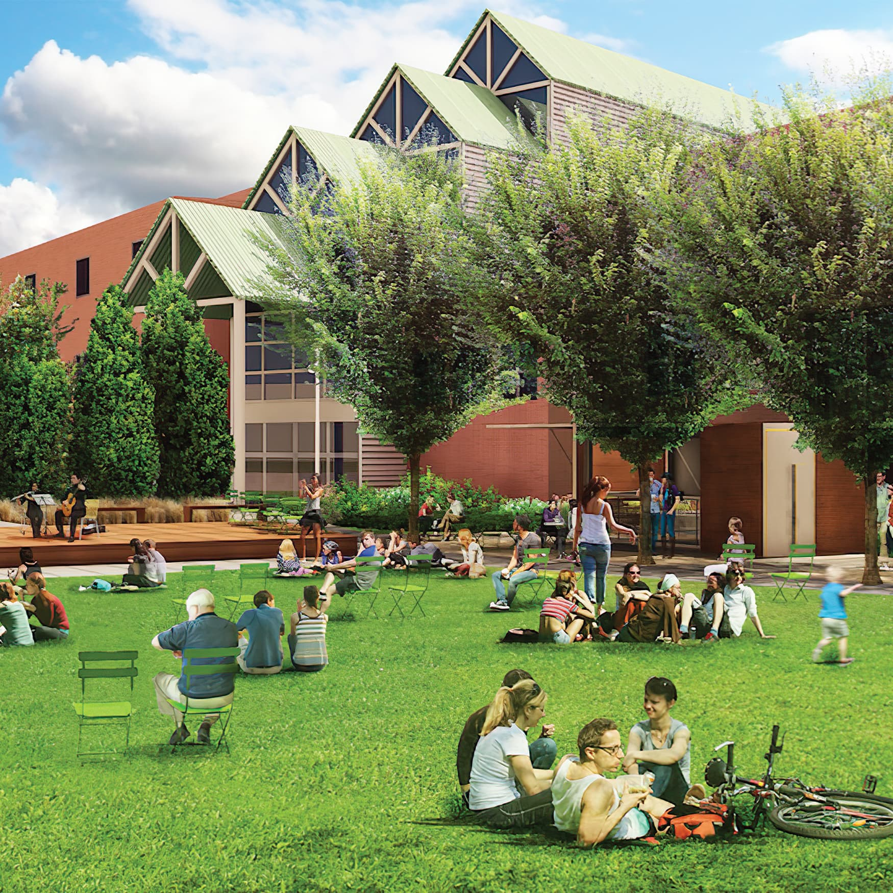 Architectural rendering of people gathering at LeBauer Park