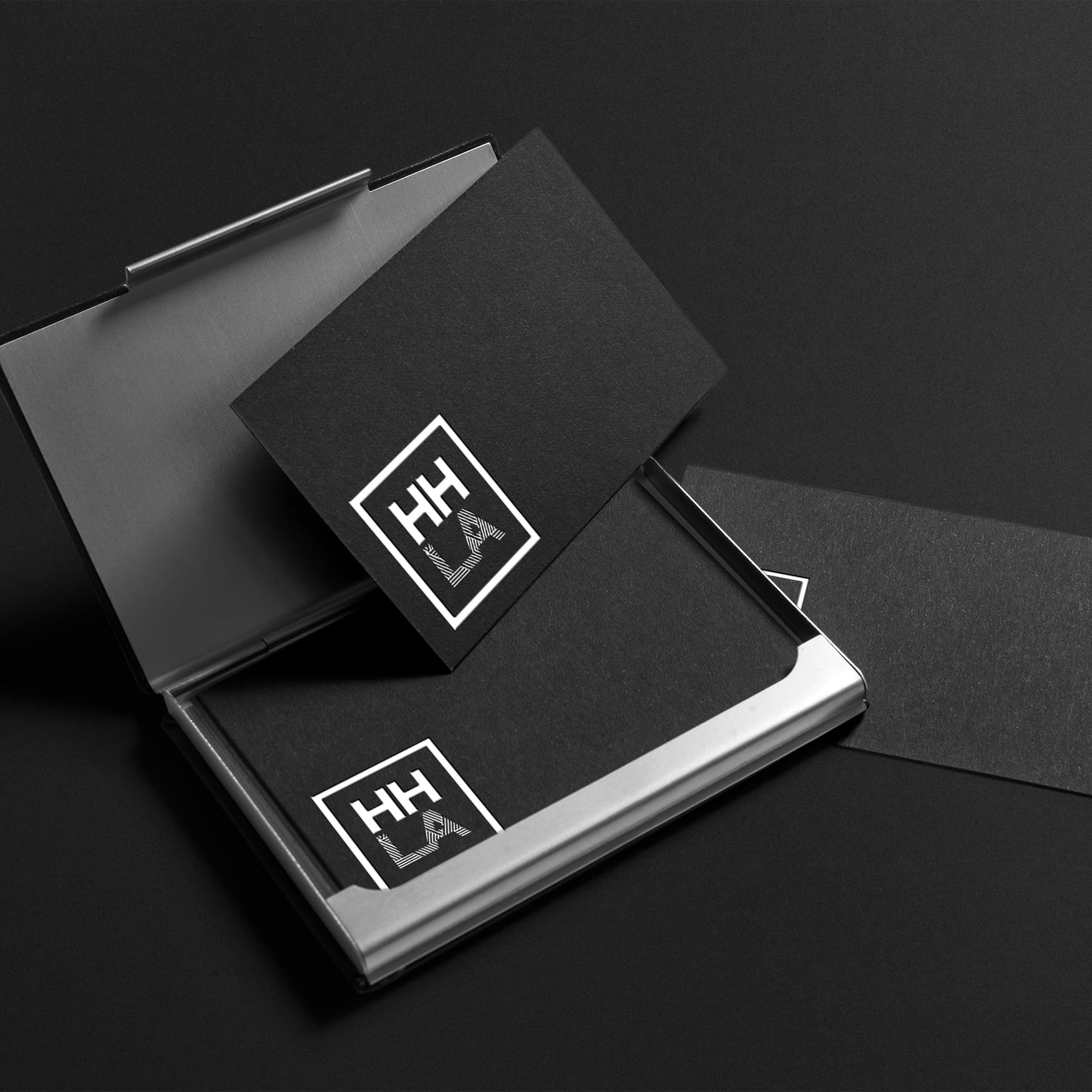 HHLA branding and logo design on stationary mock up