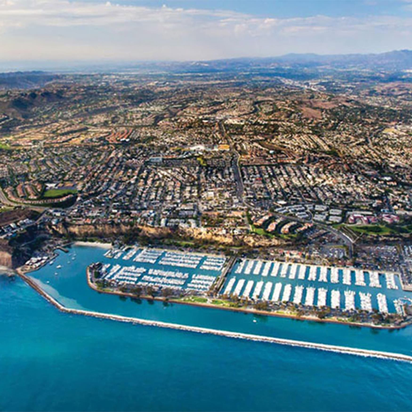 An aerial image of the beautiful Dana Point Harbor.