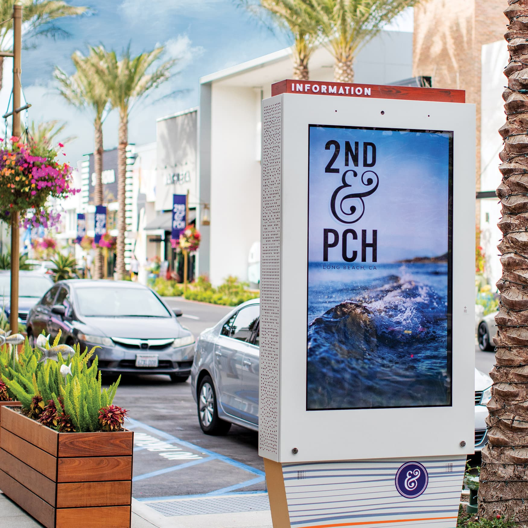 2nd & PCH, Long Beach, California, retail project pedestrian interactive digital directory design