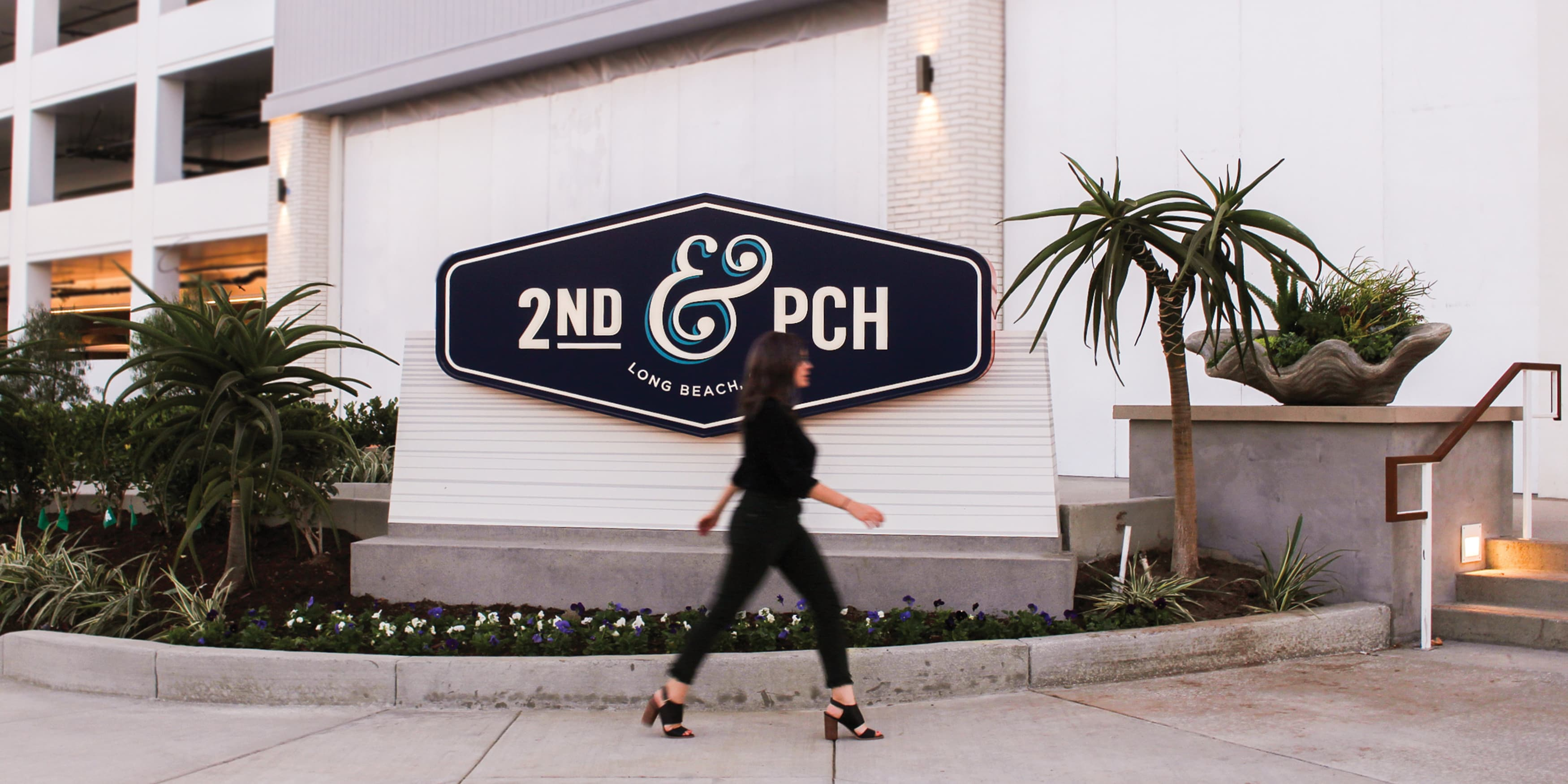 2nd & PCH, Long Beach, California, retail project identity monument
