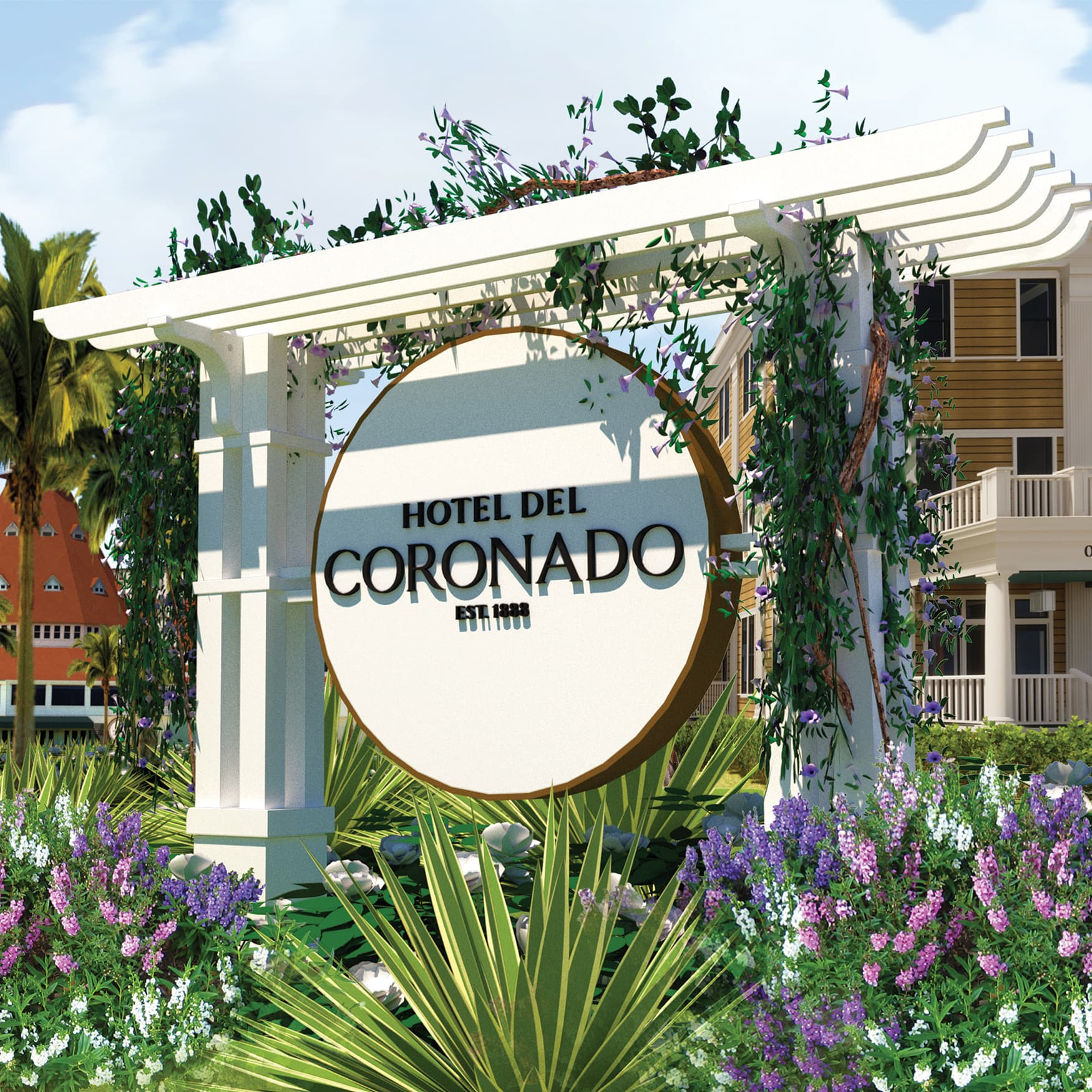 A Hotel del Coronado branded post and panel sign prepared by RSM Design