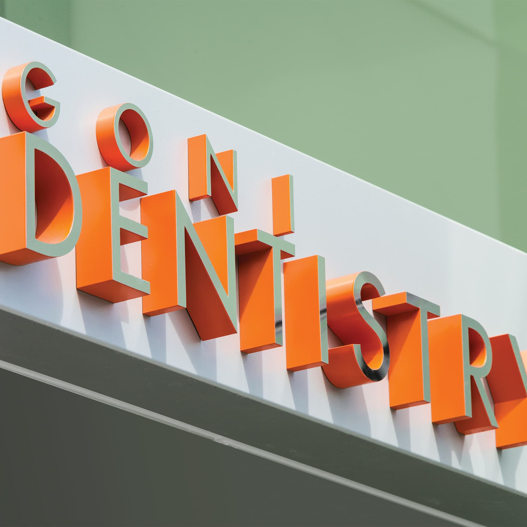 University of the Pacific, Education Design and Healthcare Design in San Francisco, California. Extruded letter signage with orange returns.