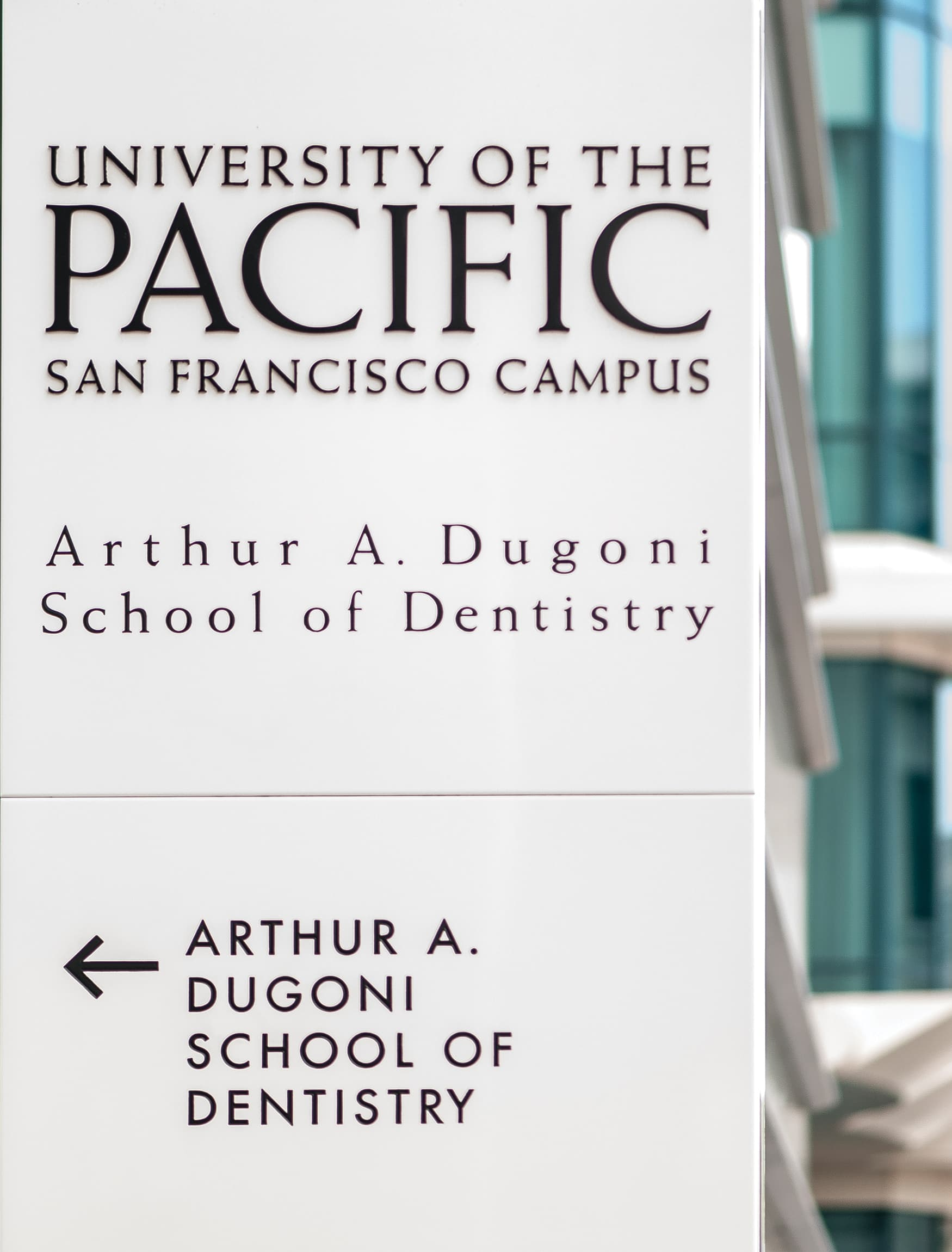 University of the Pacific, Education Design and Healthcare Design in San Francisco, California. Project Identity totem and pedestrian directional wayfinding.