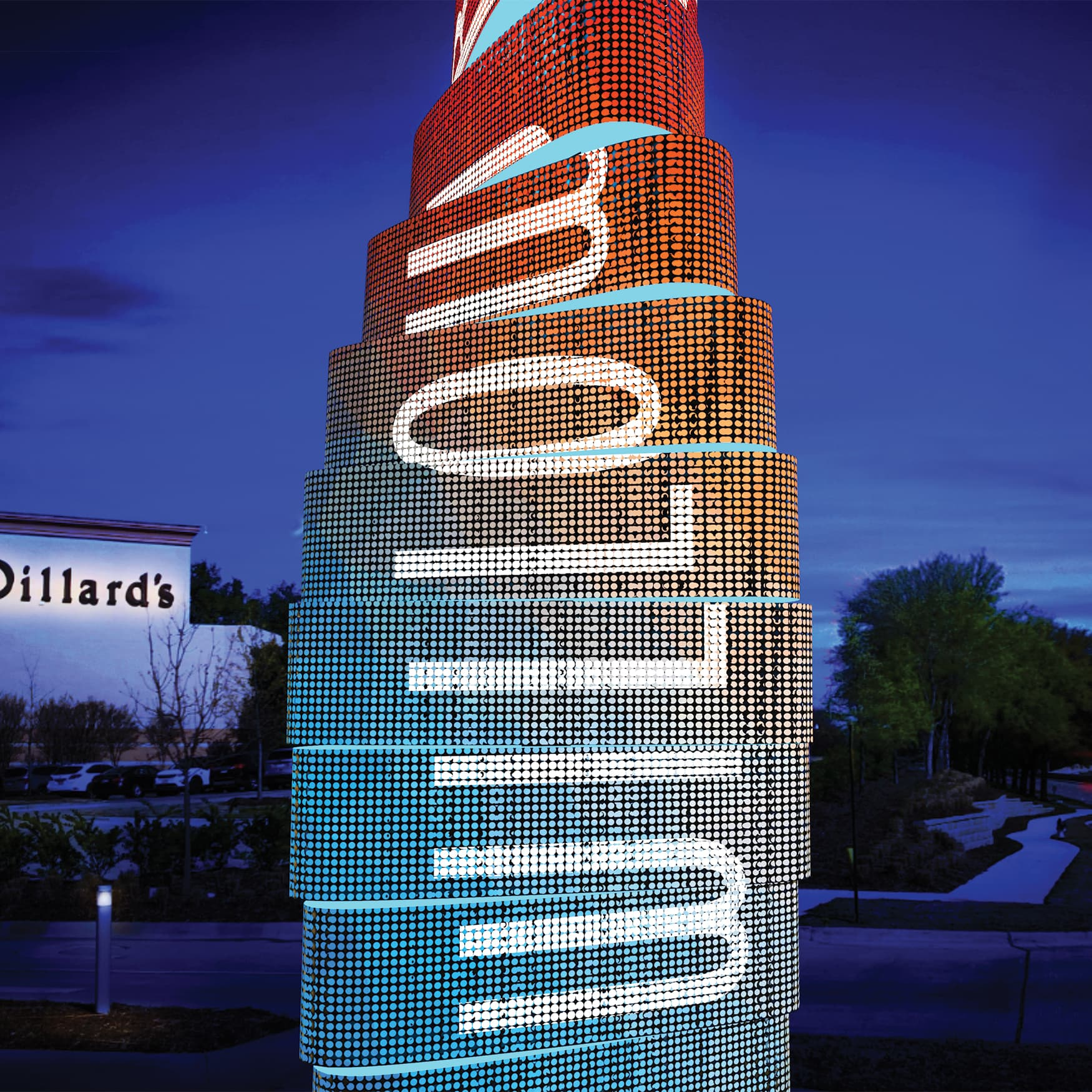 A detailed render of the project identity pylon designed for Willow Bend.