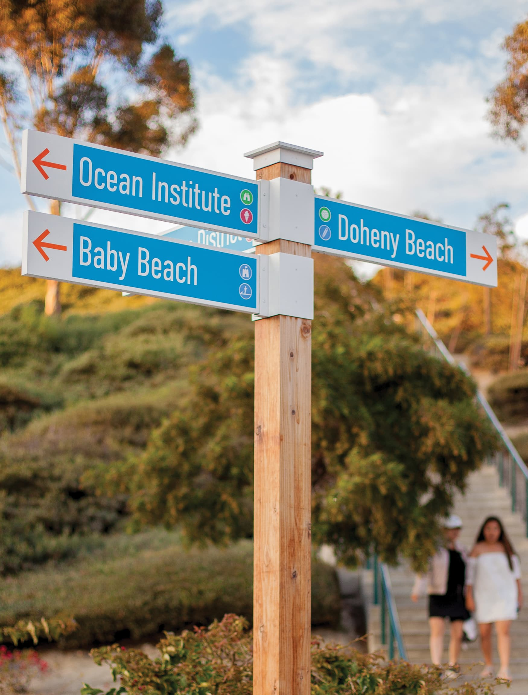 The City of Dana Point branded wayfinding directional sign