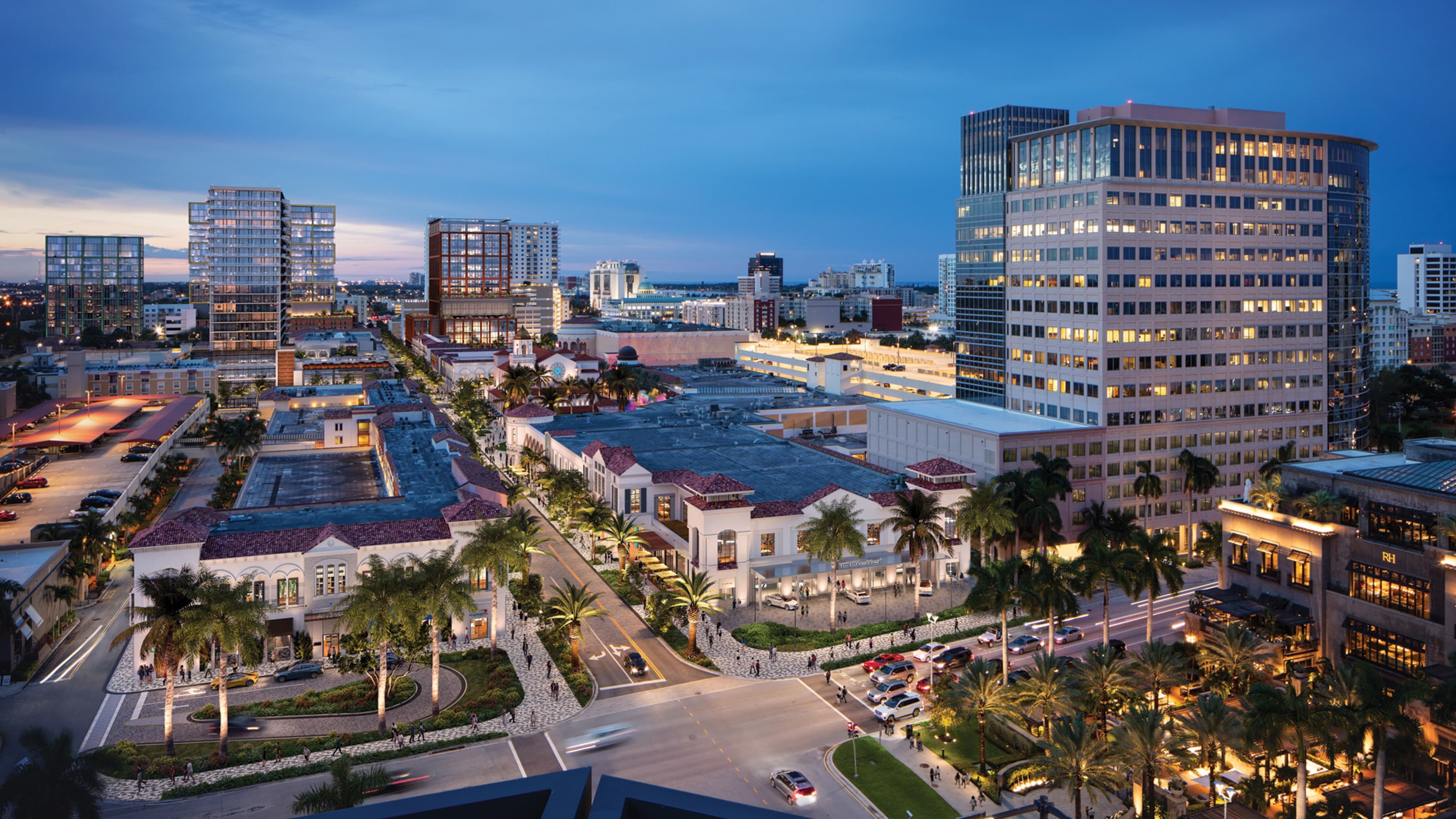 Evening aerial view of a retail center in West Palm Beach, Florida