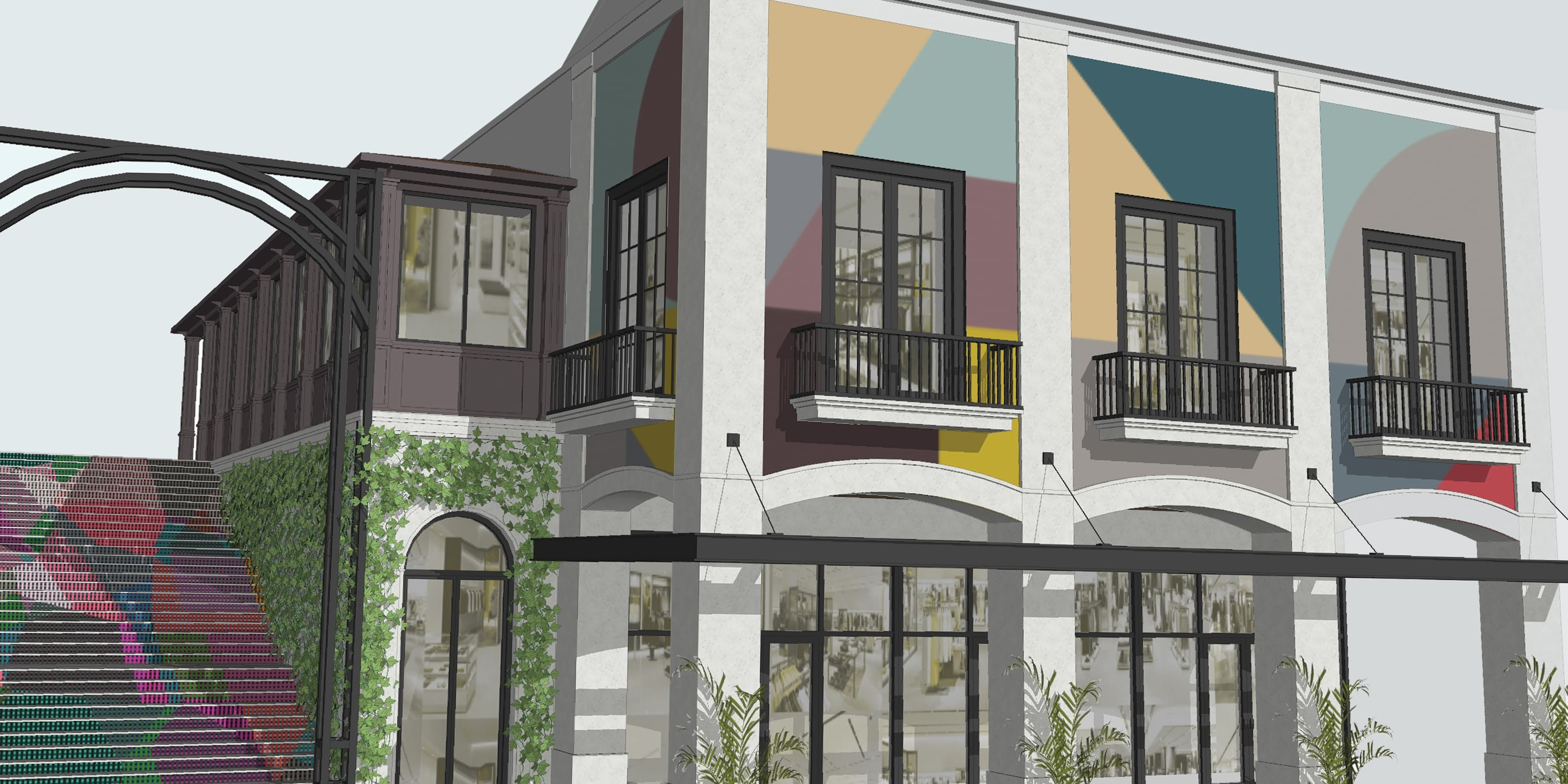 Rosemary Square, a  retail and entertainment center in West Palm Beach, Florida. RSM Design was brought in to create new facade designs, patterning, & mural designs. Architectural Graphic Design.