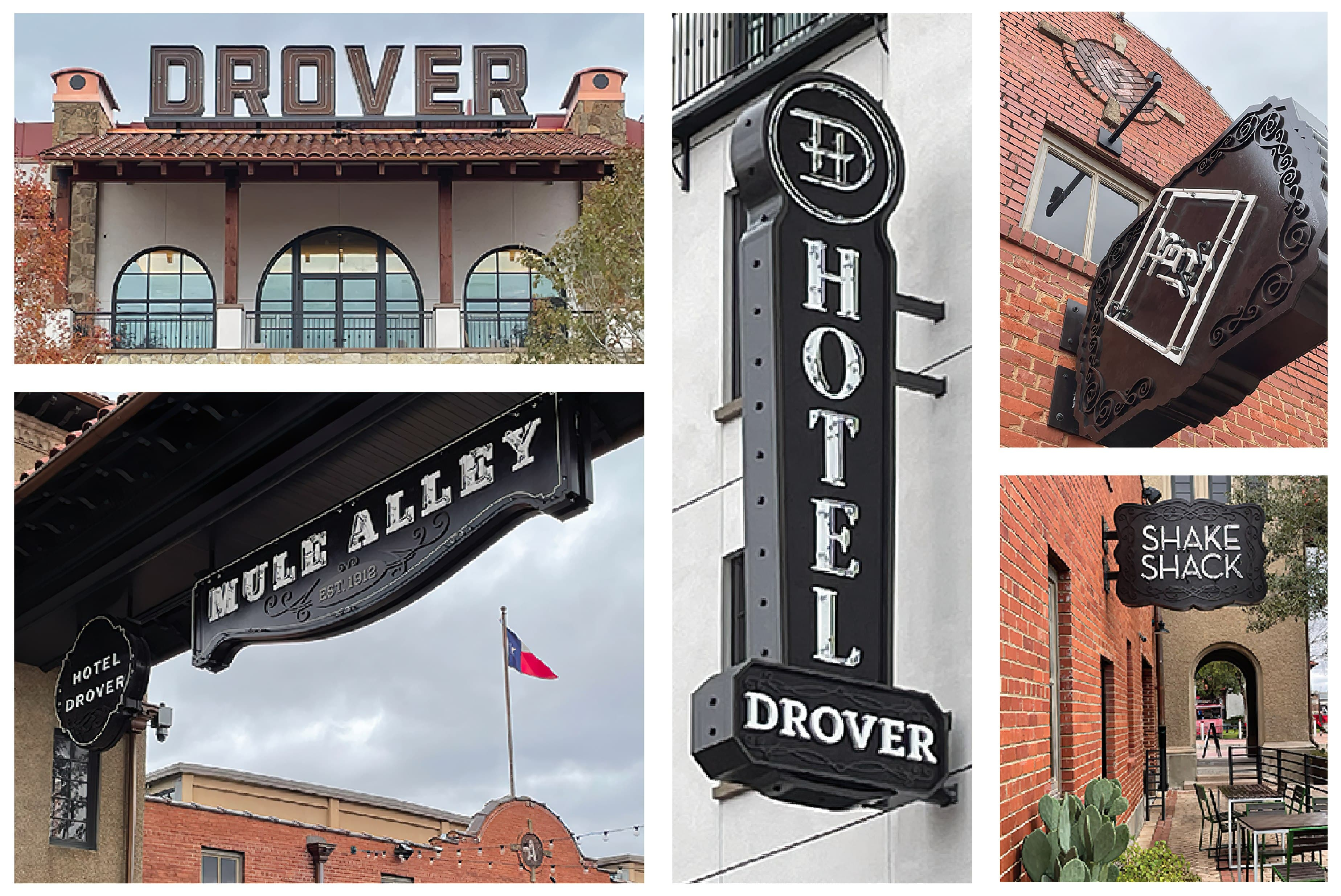Signs installed at the Historic Stockyards in Fort Worth, Texas